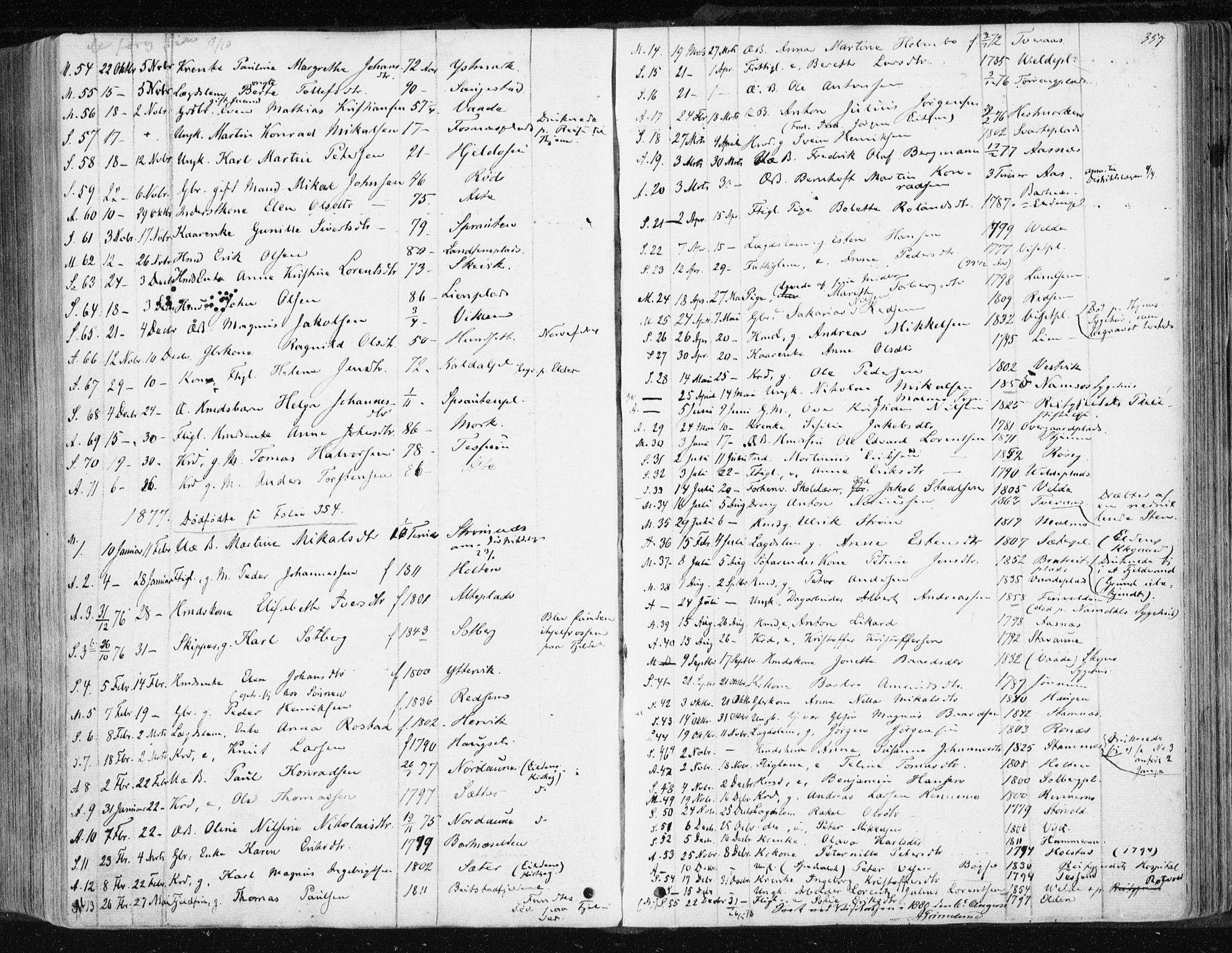 SAT, Ministerialprotokoller, klokkerbøker og fødselsregistre - Nord-Trøndelag, 741/L0394: Ministerialbok nr. 741A08, 1864-1877, s. 357