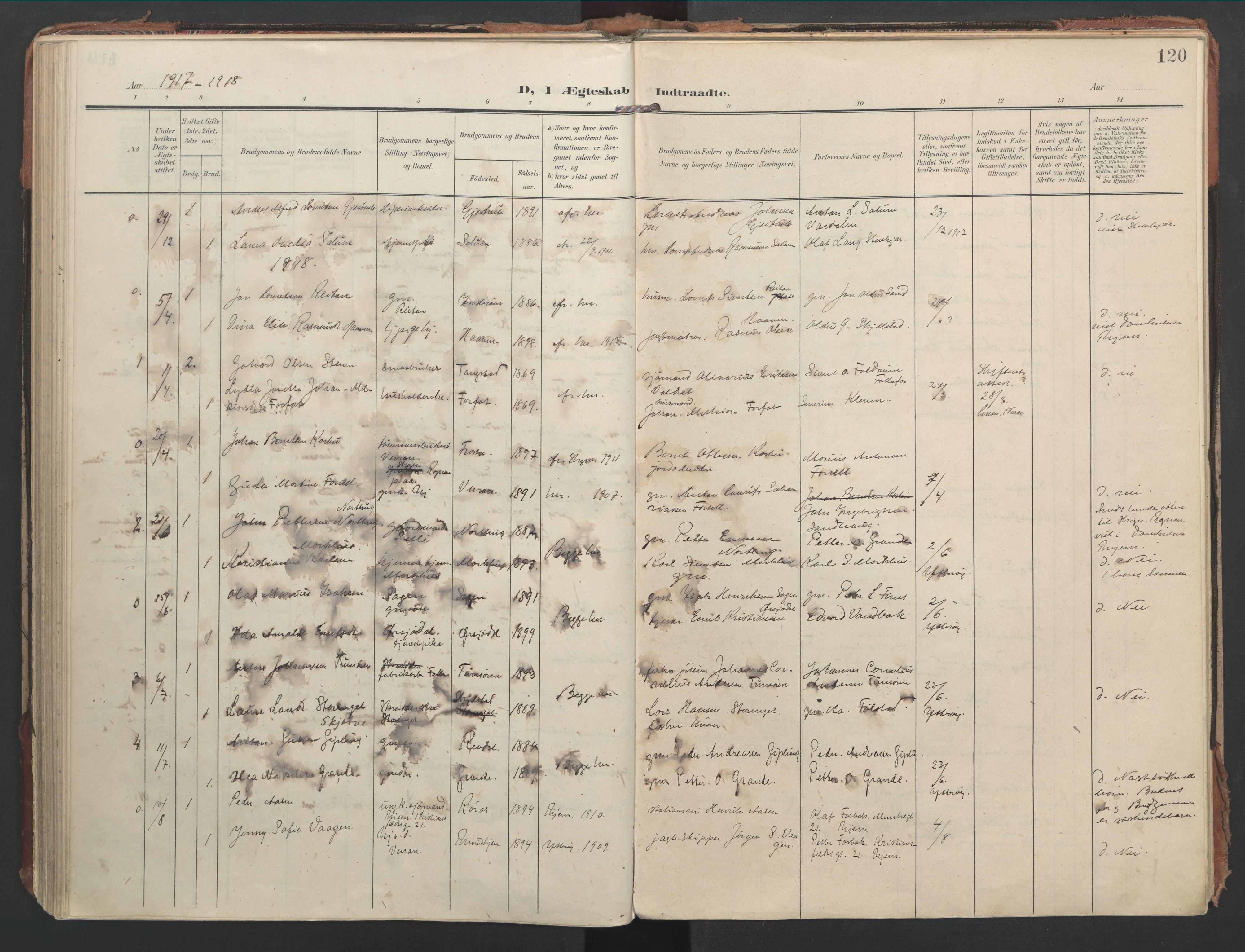 SAT, Ministerialprotokoller, klokkerbøker og fødselsregistre - Nord-Trøndelag, 744/L0421: Ministerialbok nr. 744A05, 1905-1930, s. 120
