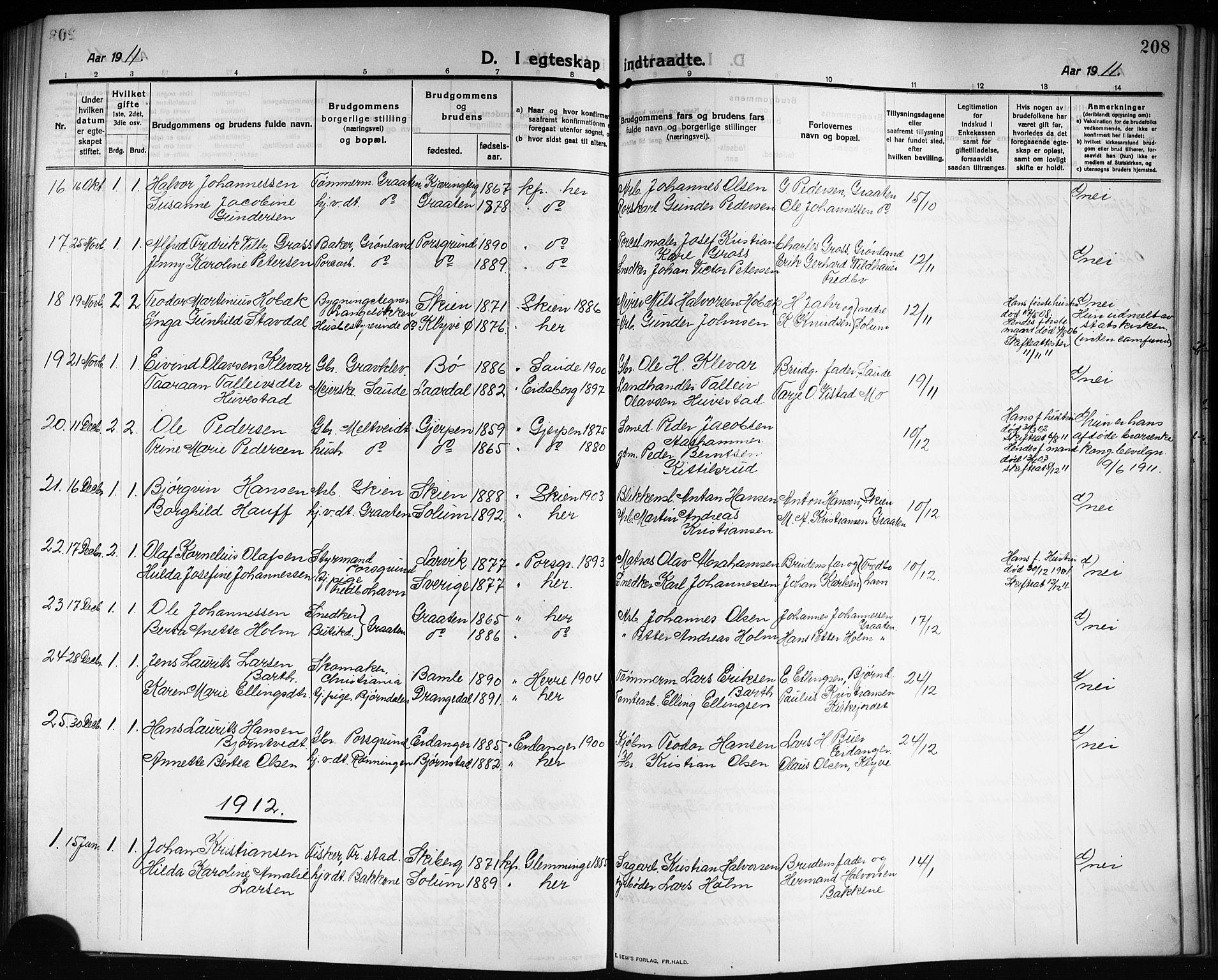 SAKO, Solum kirkebøker, G/Ga/L0009: Klokkerbok nr. I 9, 1909-1922, s. 208