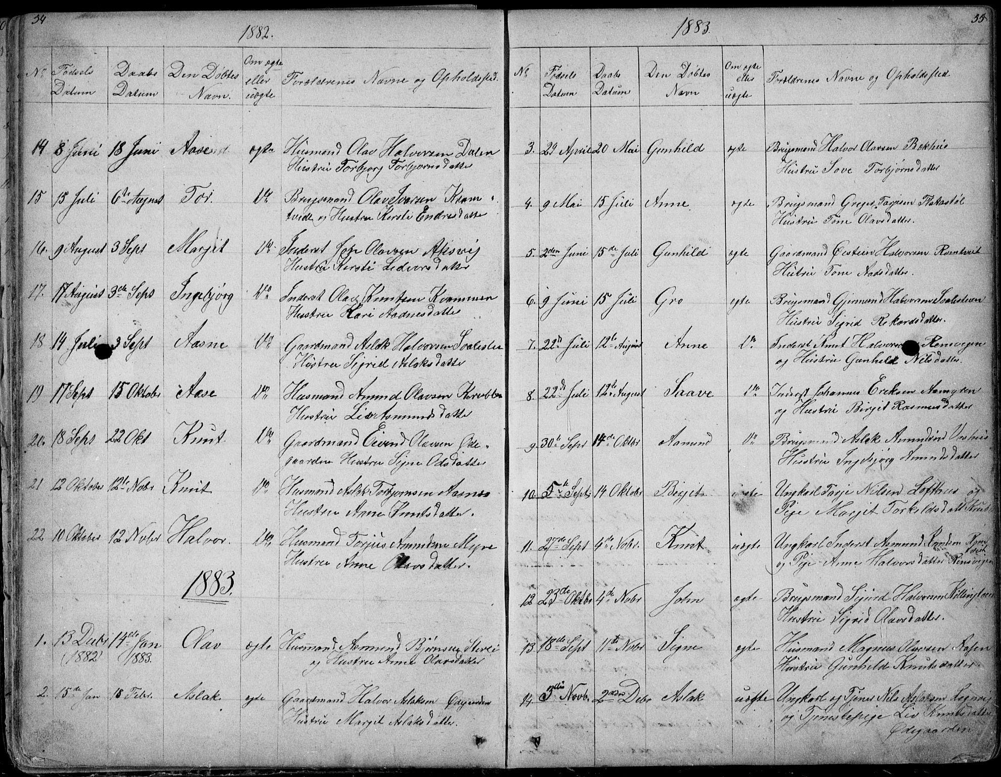 SAKO, Rauland kirkebøker, G/Ga/L0002: Klokkerbok nr. I 2, 1849-1935, s. 54-55