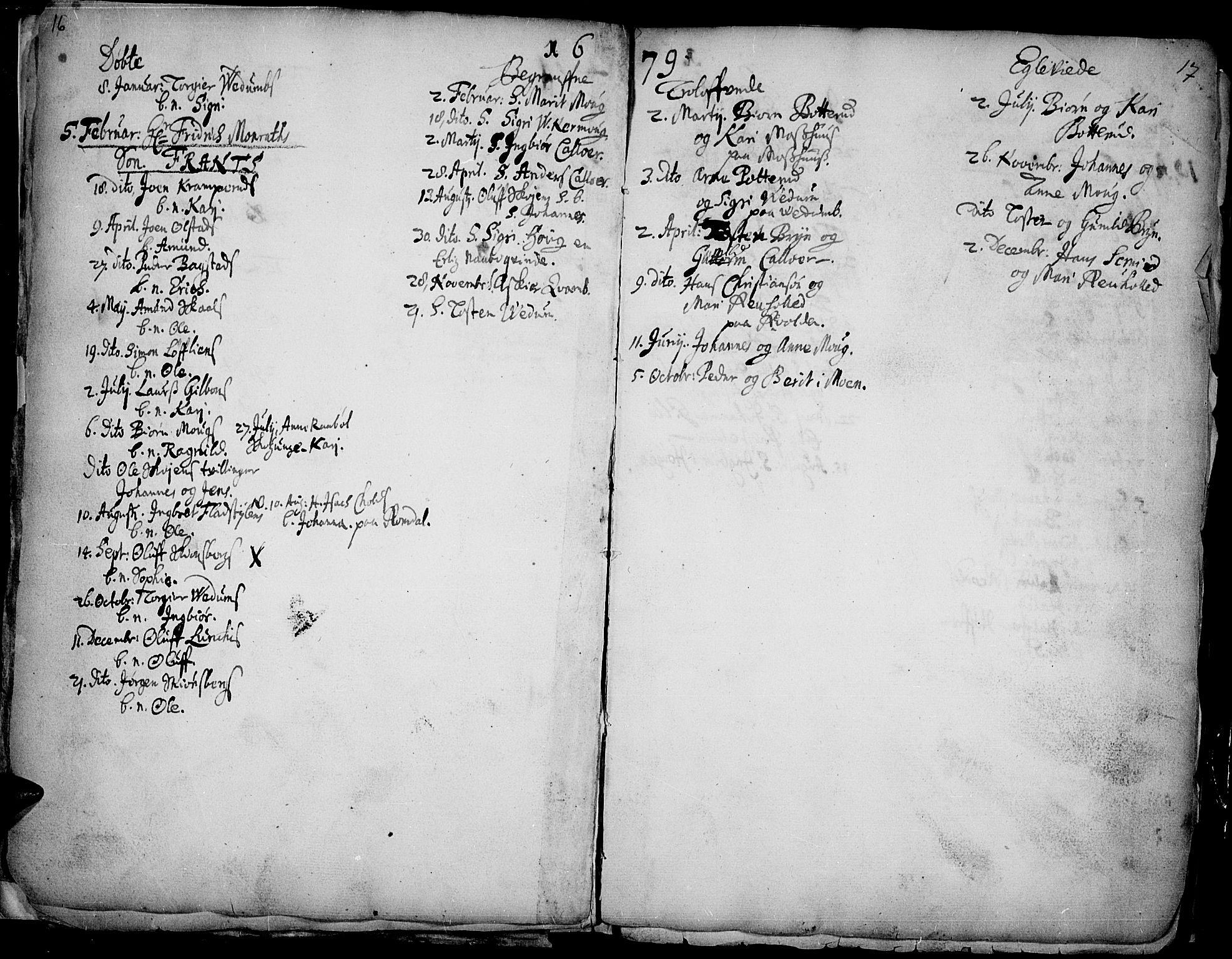SAH, Øyer prestekontor, Ministerialbok nr. 1, 1671-1727, s. 16-17