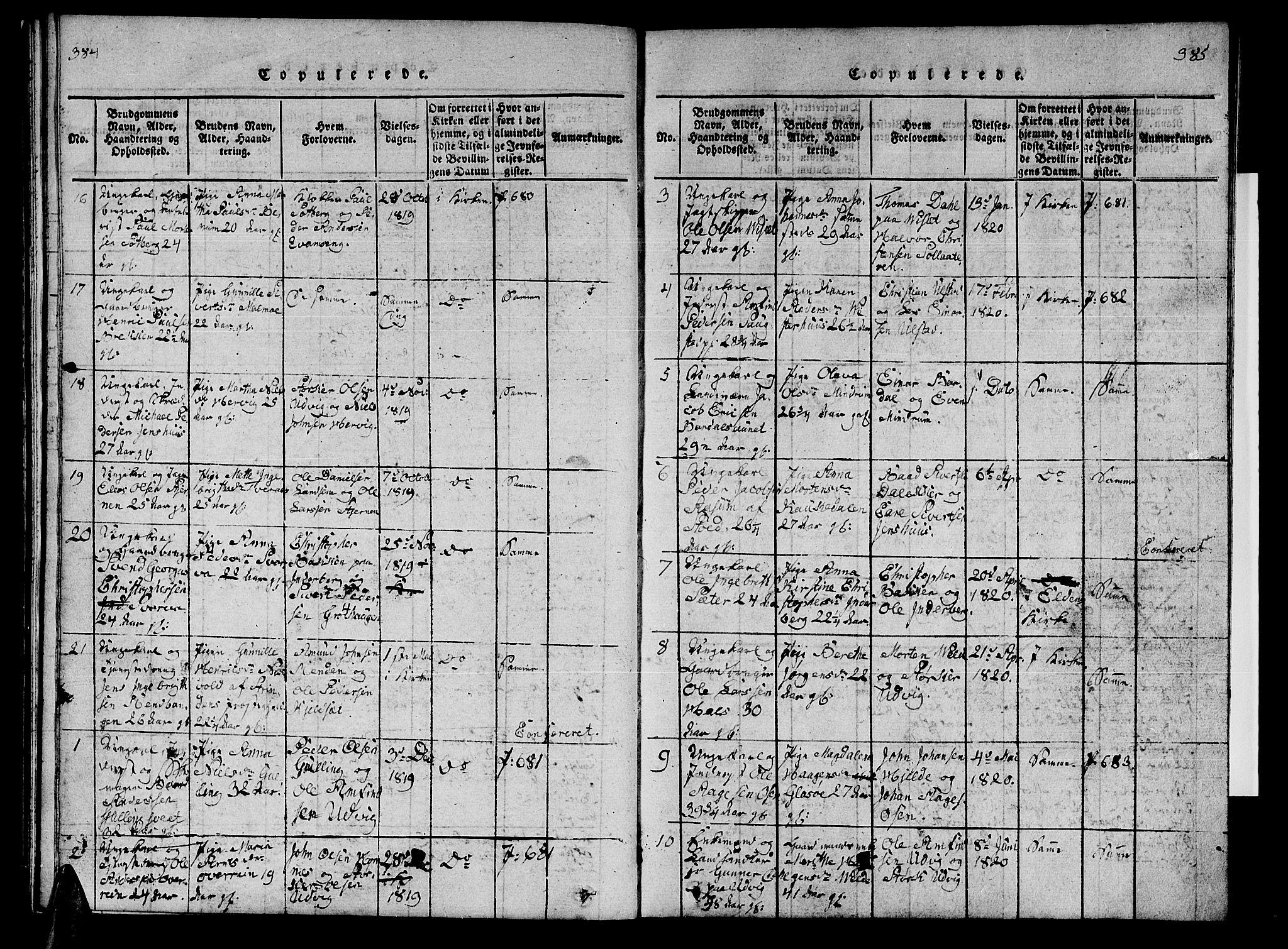 SAT, Ministerialprotokoller, klokkerbøker og fødselsregistre - Nord-Trøndelag, 741/L0400: Klokkerbok nr. 741C01, 1817-1825, s. 384-385