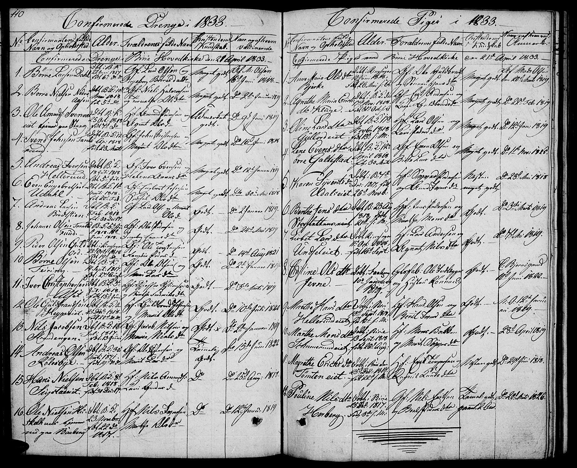 SAH, Biri prestekontor, Klokkerbok nr. 2, 1828-1842, s. 110