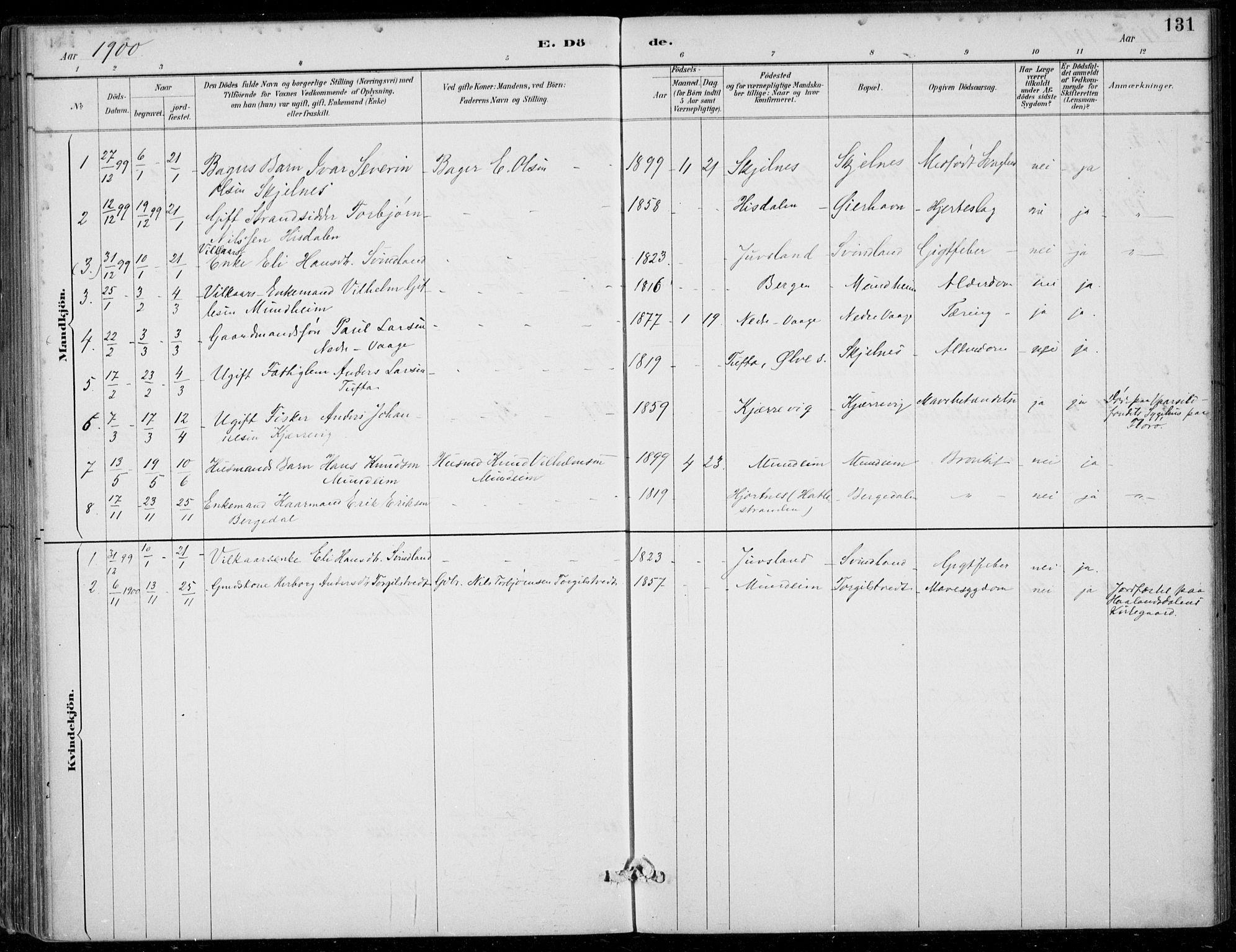 SAB, Strandebarm sokneprestembete, H/Haa: Ministerialbok nr. D  1, 1886-1912, s. 131