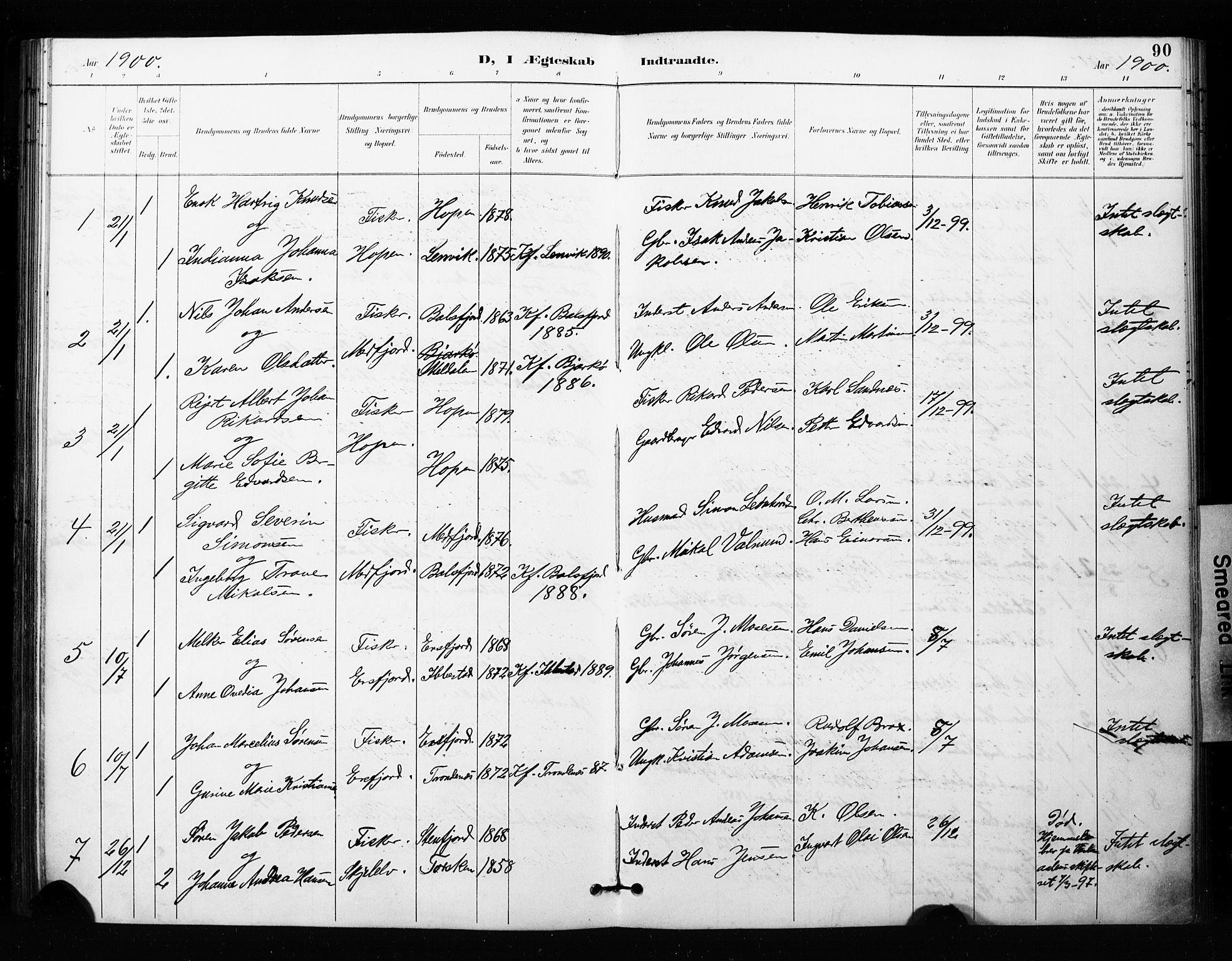 SATØ, Mefjord/Berg sokneprestkontor, G/Ga/Gaa/L0005kirke: Ministerialbok nr. 5, 1894-1905, s. 90