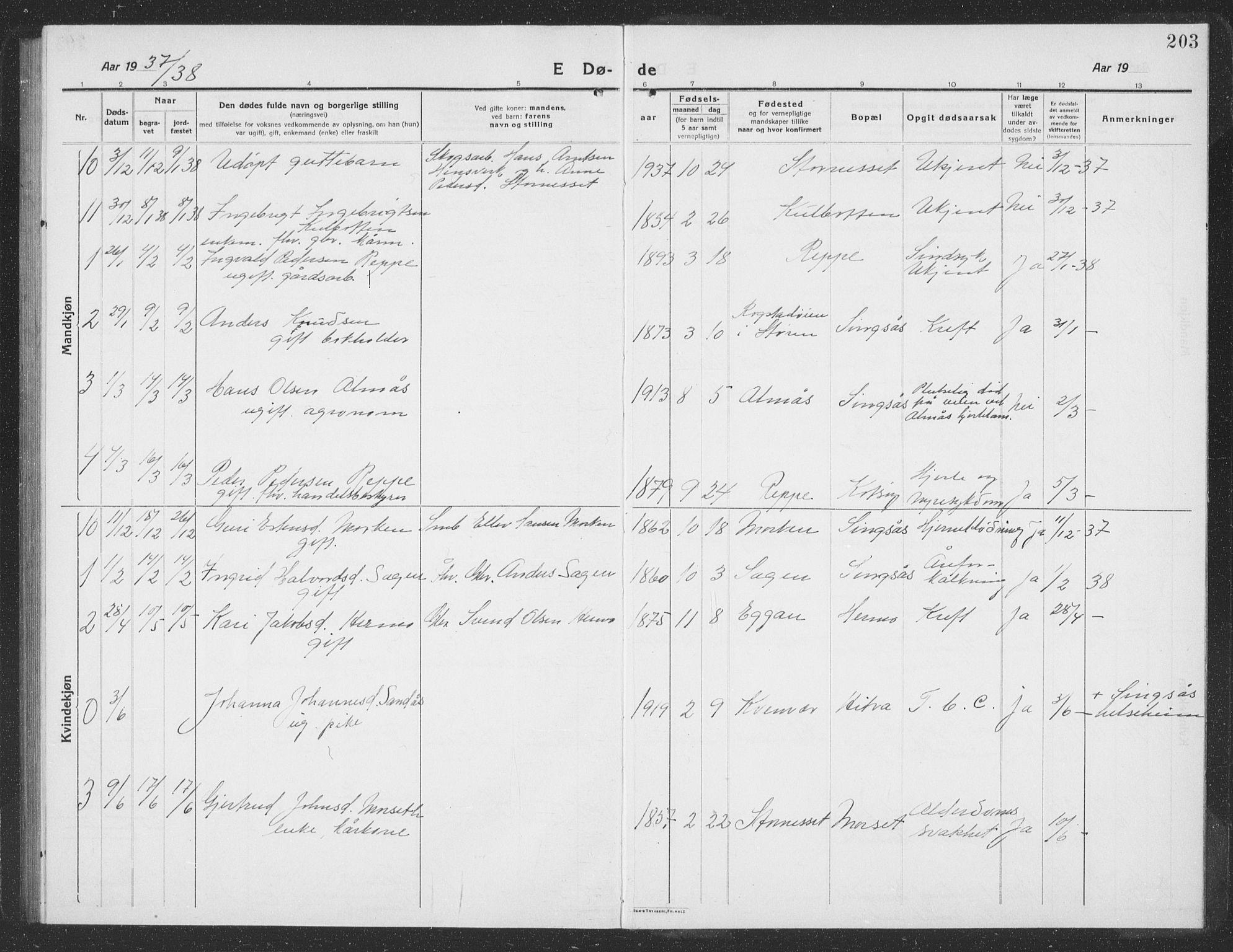 SAT, Ministerialprotokoller, klokkerbøker og fødselsregistre - Sør-Trøndelag, 688/L1030: Klokkerbok nr. 688C05, 1916-1939, s. 203