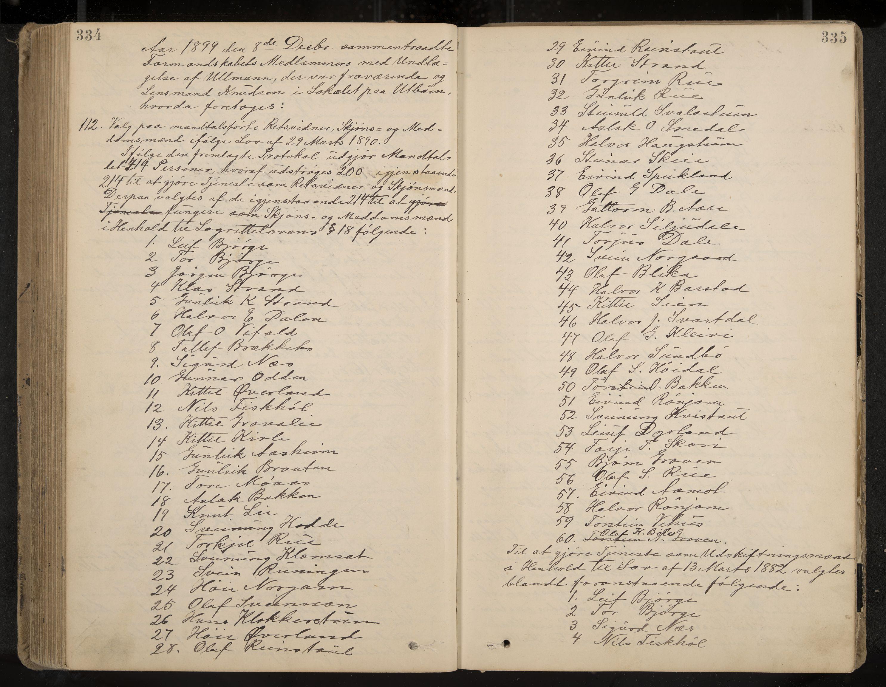 IKAK, Seljord formannskap og sentraladministrasjon, A/Aa/L0003: Møtebok med register, 1891-1905, s. 334-335