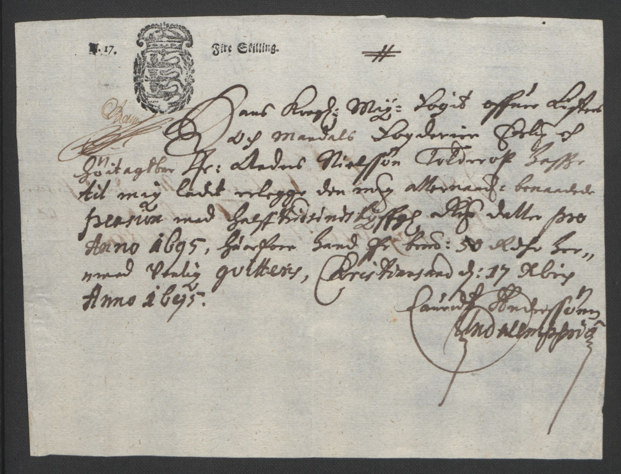 RA, Rentekammeret inntil 1814, Reviderte regnskaper, Fogderegnskap, R43/L2545: Fogderegnskap Lista og Mandal, 1694-1695, s. 304