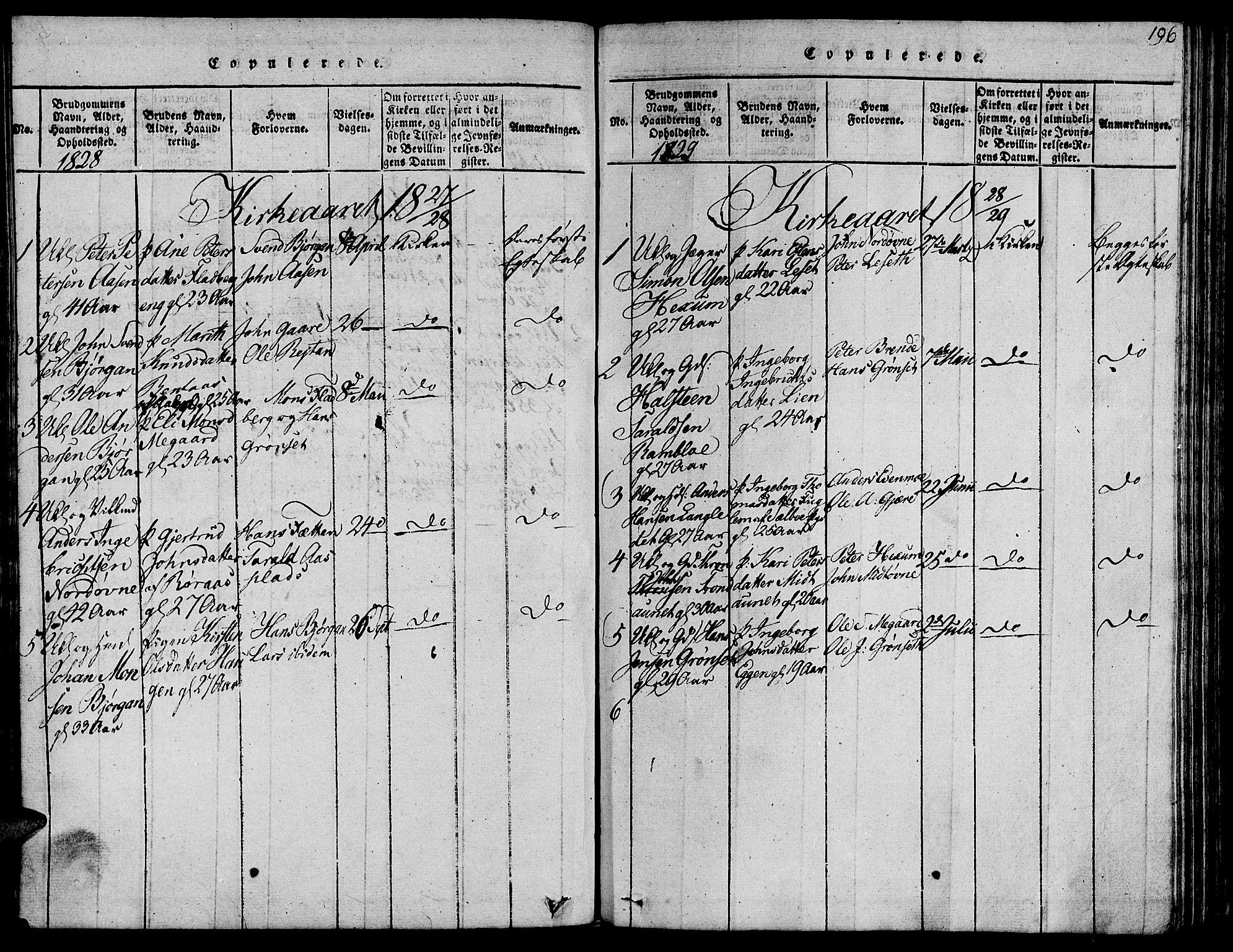 SAT, Ministerialprotokoller, klokkerbøker og fødselsregistre - Sør-Trøndelag, 685/L0954: Ministerialbok nr. 685A03 /1, 1817-1829, s. 196