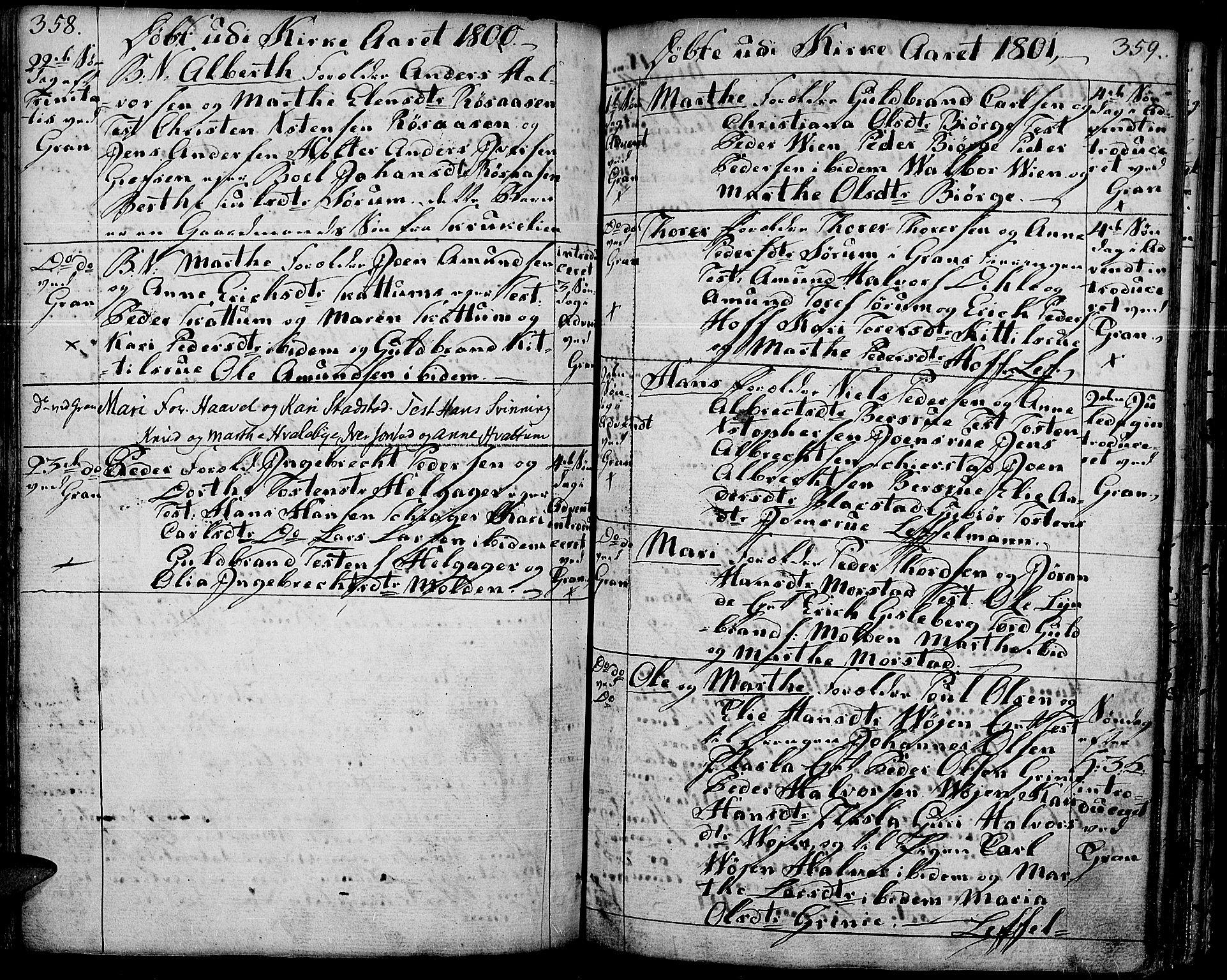 SAH, Gran prestekontor, Ministerialbok nr. 6, 1787-1824, s. 358-359