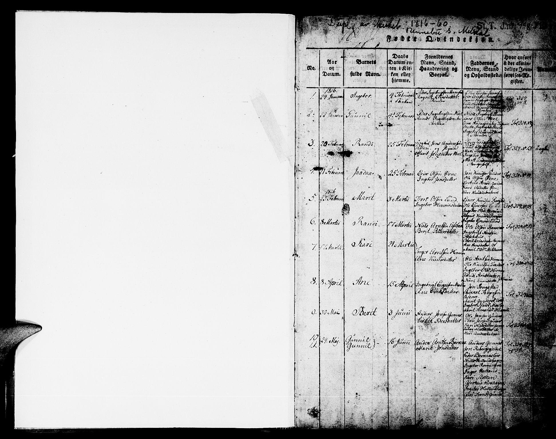 SAT, Ministerialprotokoller, klokkerbøker og fødselsregistre - Sør-Trøndelag, 674/L0874: Klokkerbok nr. 674C01, 1816-1860, s. 1