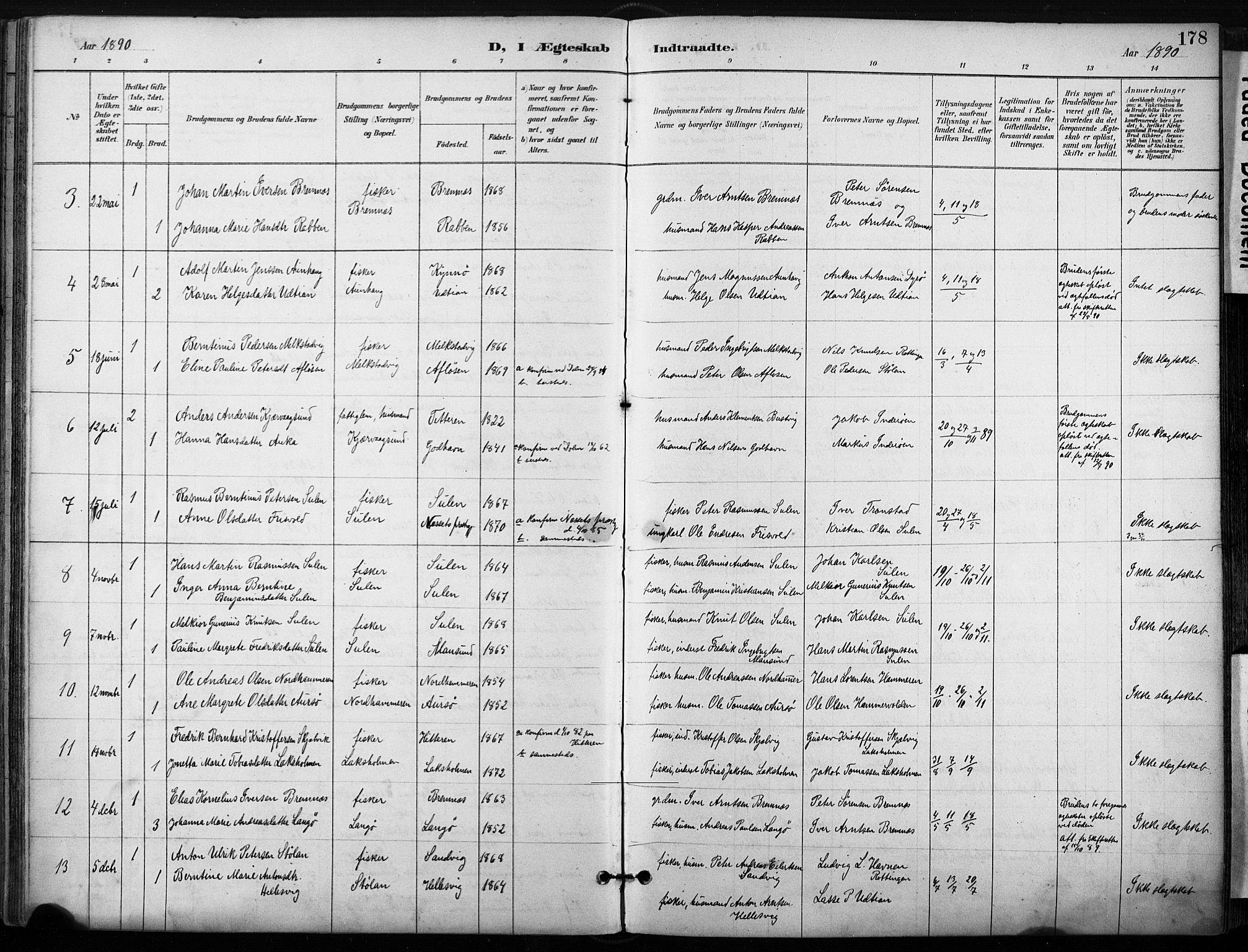SAT, Ministerialprotokoller, klokkerbøker og fødselsregistre - Sør-Trøndelag, 640/L0579: Ministerialbok nr. 640A04, 1889-1902, s. 178