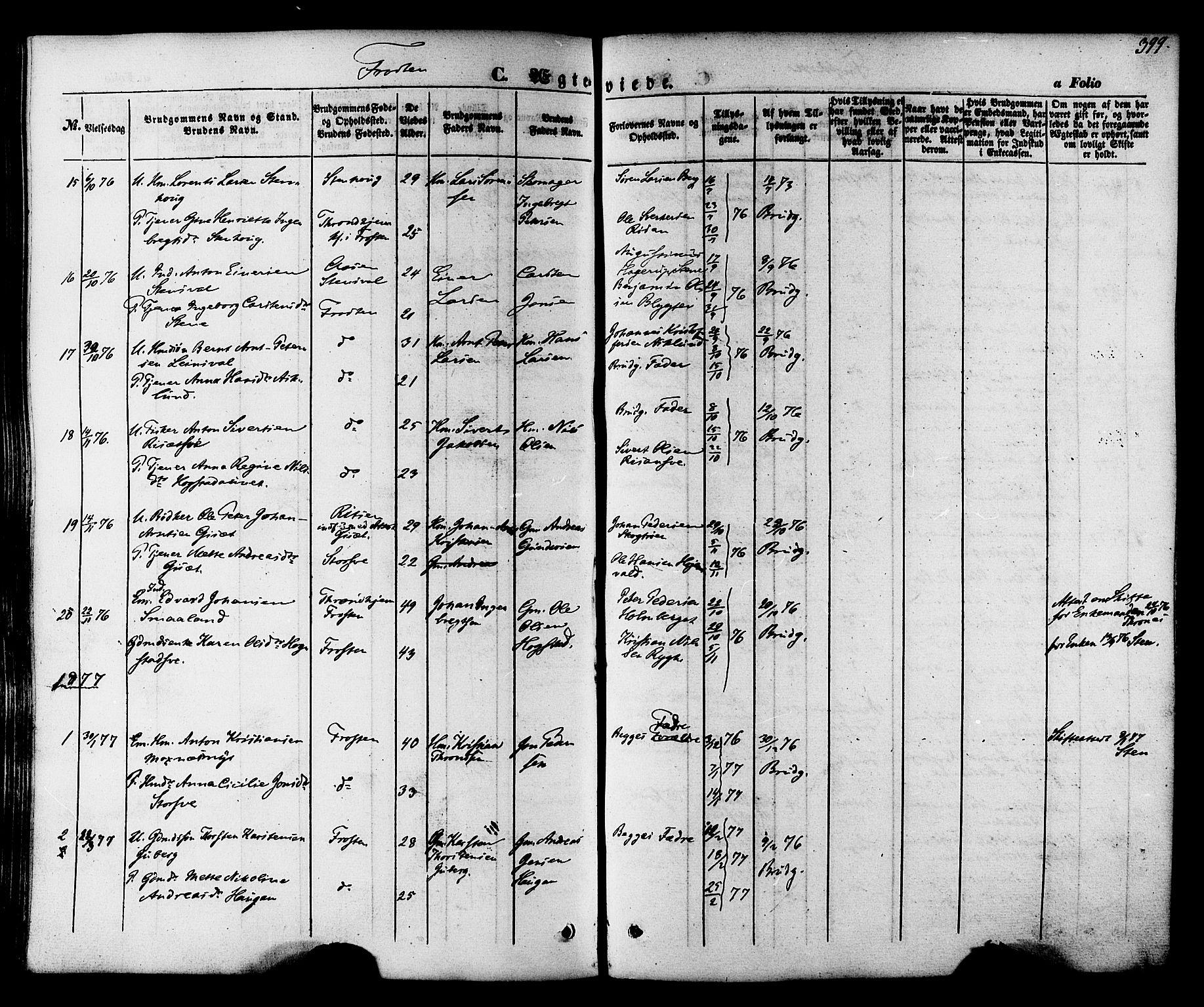SAT, Ministerialprotokoller, klokkerbøker og fødselsregistre - Nord-Trøndelag, 713/L0116: Ministerialbok nr. 713A07 /1, 1850-1877, s. 399