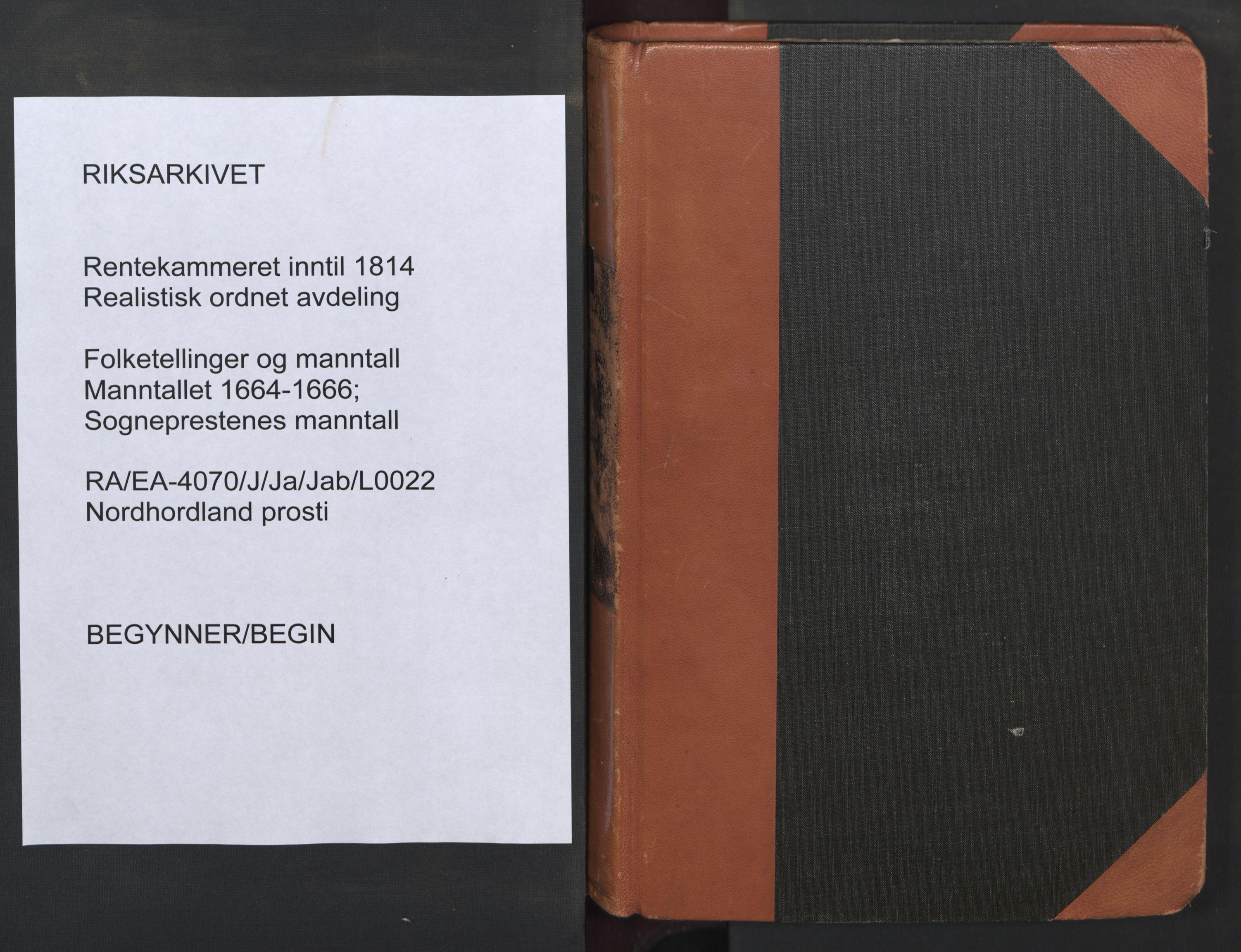 RA, Sogneprestenes manntall 1664-1666, nr. 22: Nordhordland prosti, 1664-1666