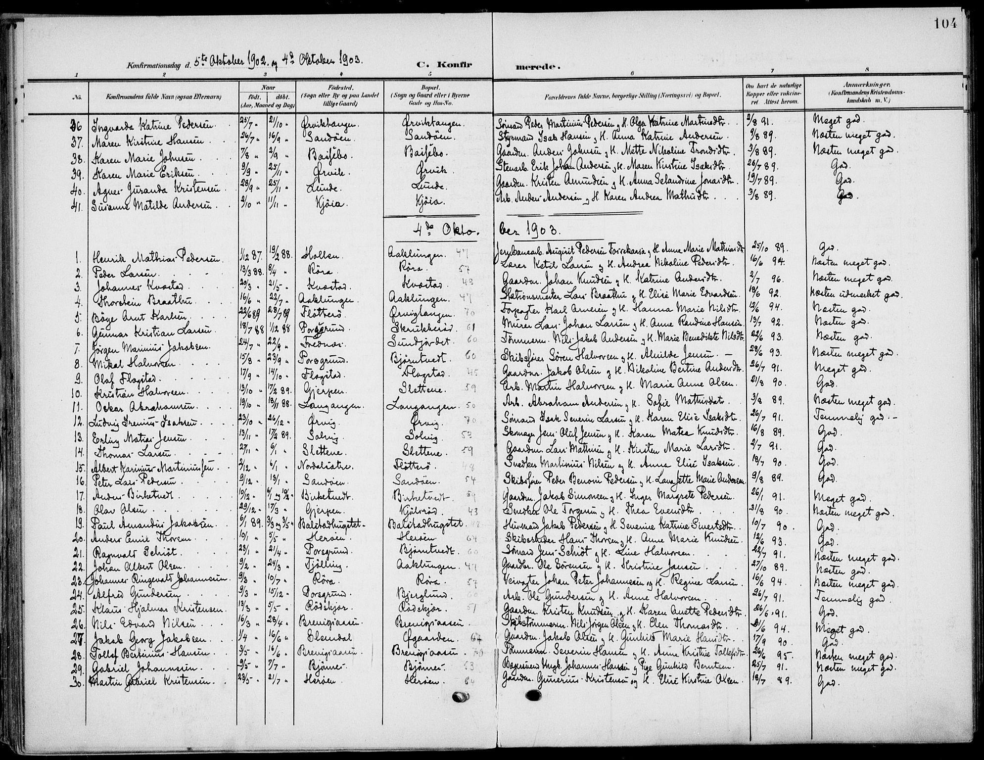 SAKO, Eidanger kirkebøker, F/Fa/L0013: Ministerialbok nr. 13, 1900-1913, s. 104