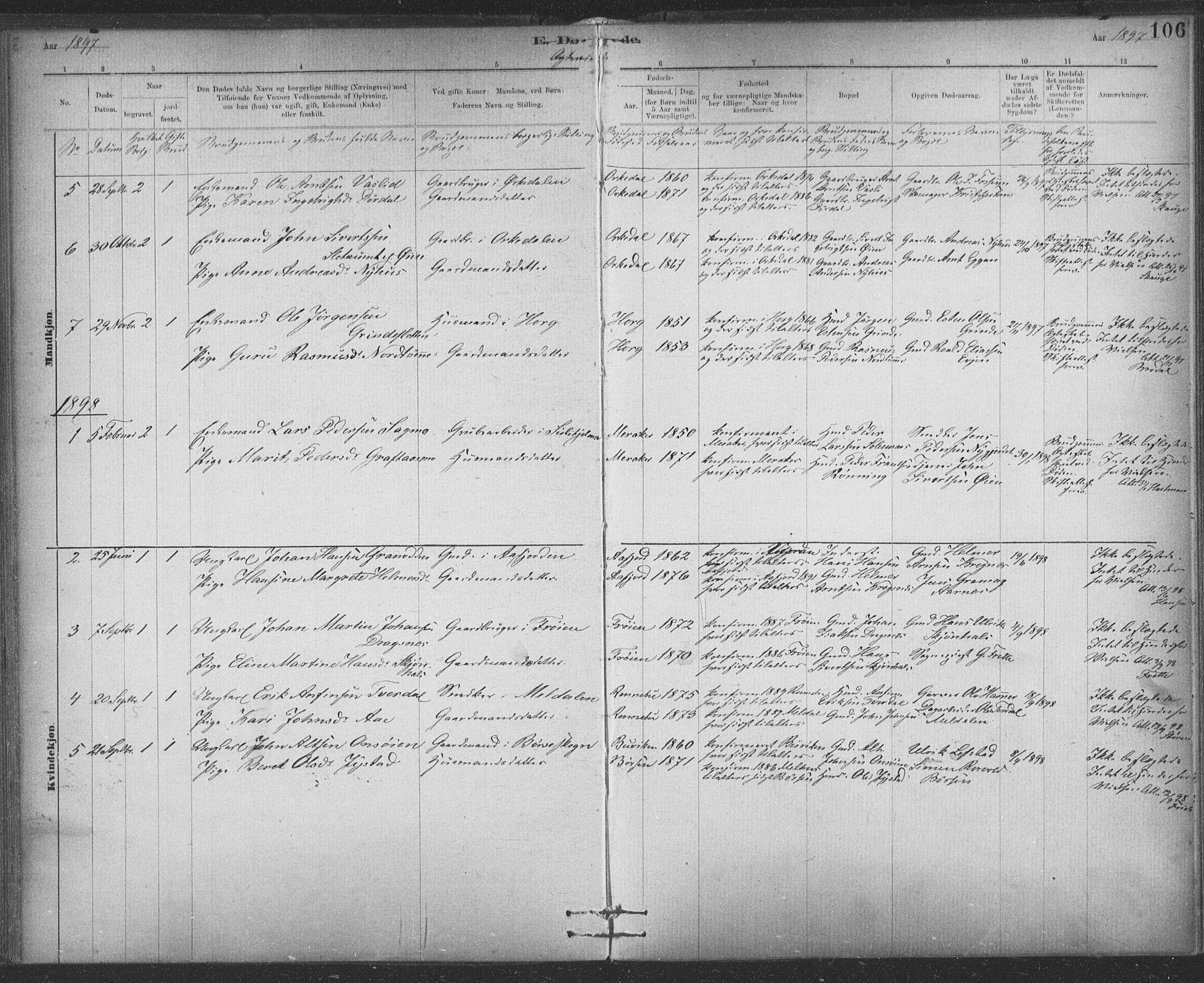 SAT, Ministerialprotokoller, klokkerbøker og fødselsregistre - Sør-Trøndelag, 623/L0470: Ministerialbok nr. 623A04, 1884-1938, s. 106
