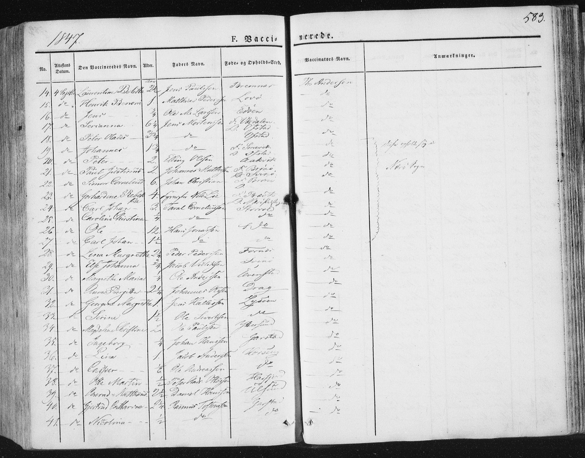 SAT, Ministerialprotokoller, klokkerbøker og fødselsregistre - Nord-Trøndelag, 784/L0669: Ministerialbok nr. 784A04, 1829-1859, s. 583