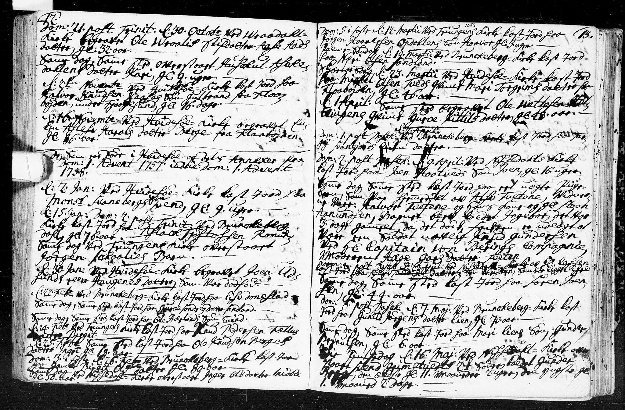 SAKO, Kviteseid kirkebøker, F/Fa/L0001: Ministerialbok nr. I 1, 1754-1773, s. 12-13