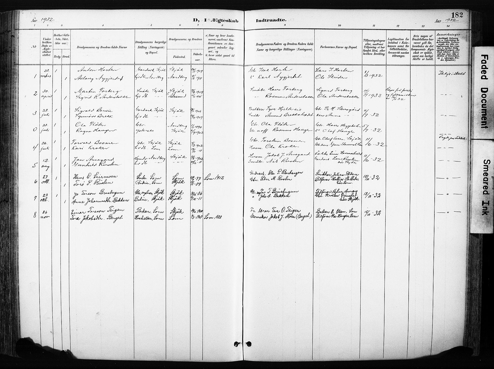 SAH, Skjåk prestekontor, Klokkerbok nr. 3, 1893-1932, s. 182