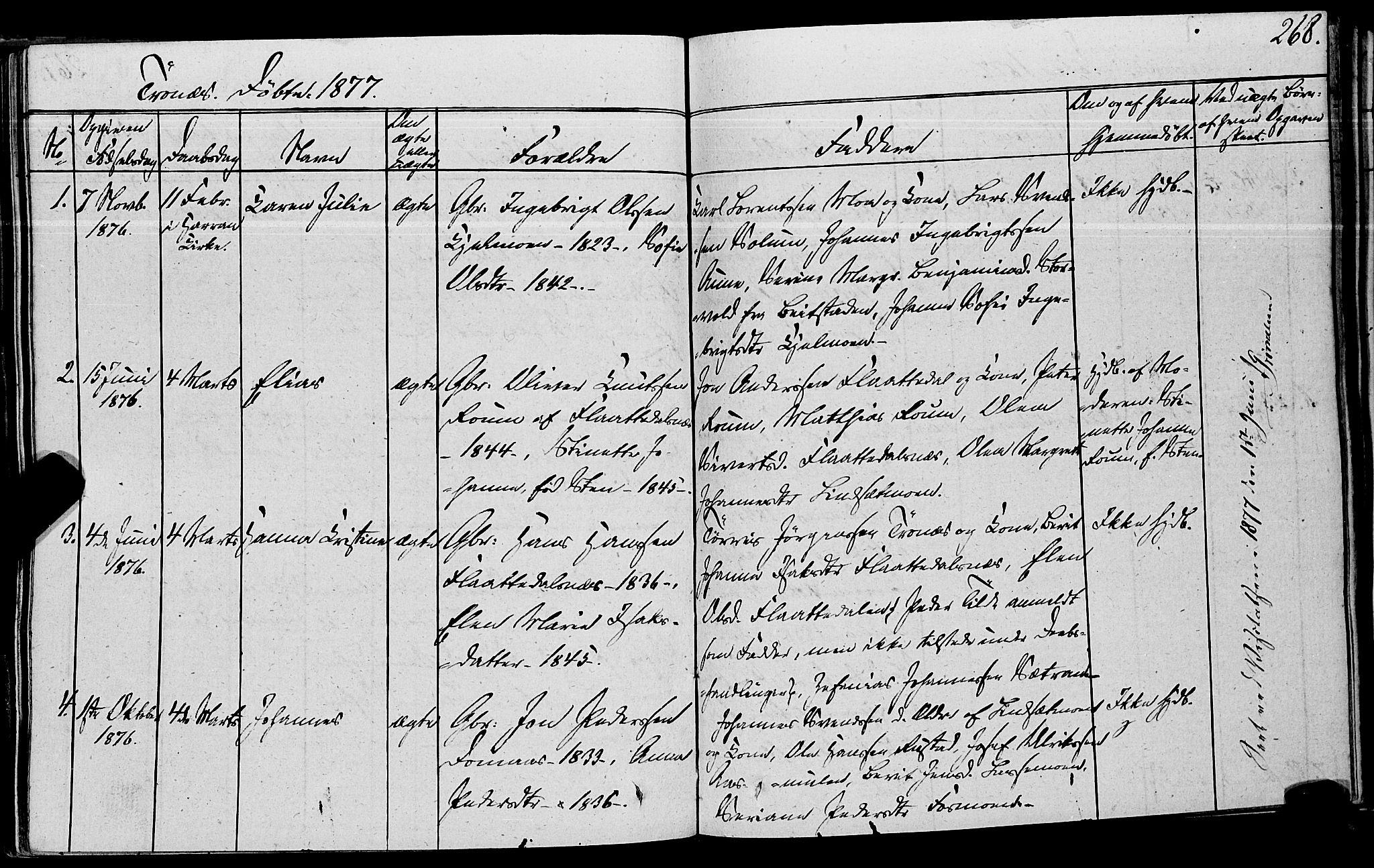 SAT, Ministerialprotokoller, klokkerbøker og fødselsregistre - Nord-Trøndelag, 762/L0538: Ministerialbok nr. 762A02 /2, 1833-1879, s. 268