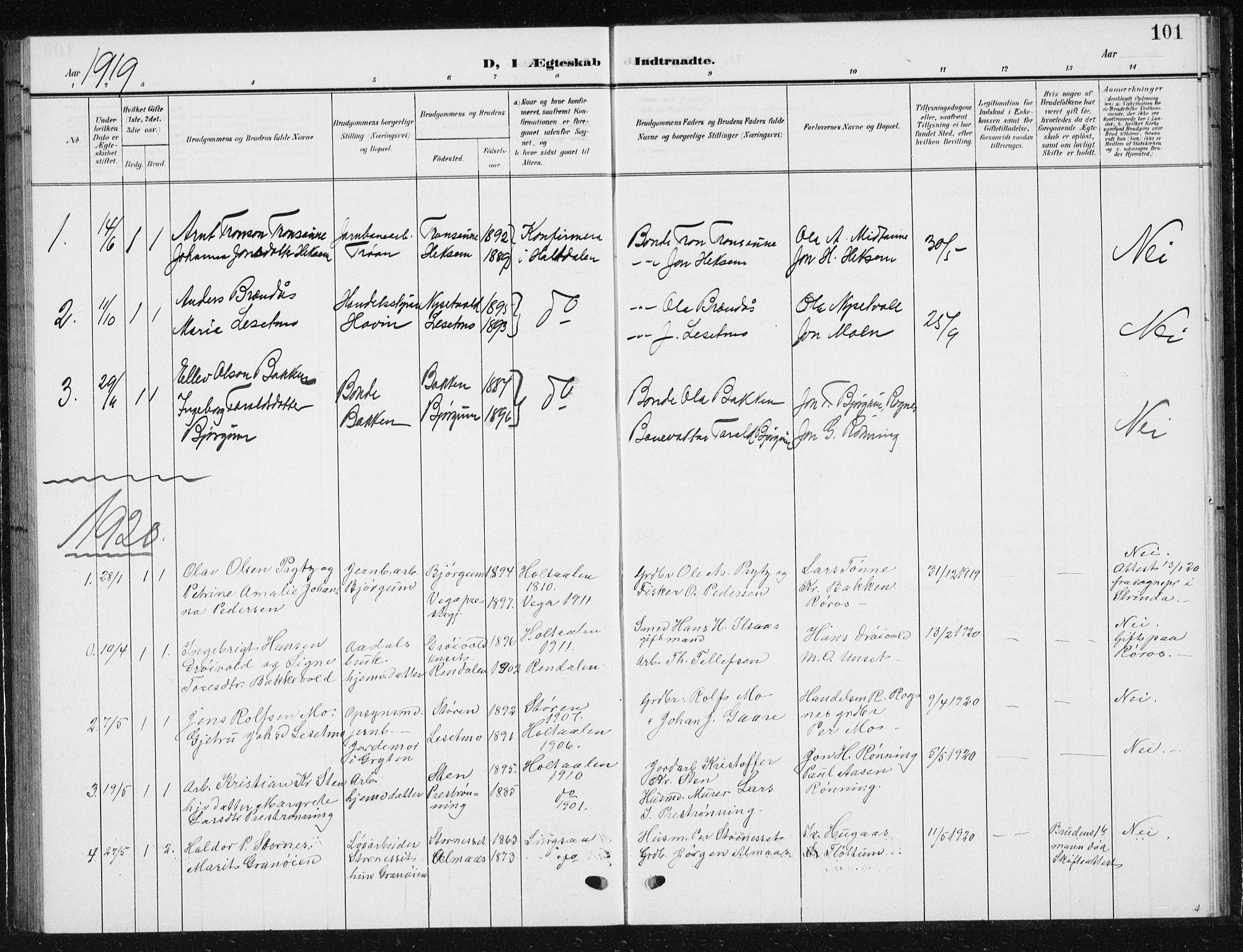 SAT, Ministerialprotokoller, klokkerbøker og fødselsregistre - Sør-Trøndelag, 685/L0979: Klokkerbok nr. 685C04, 1908-1933, s. 101