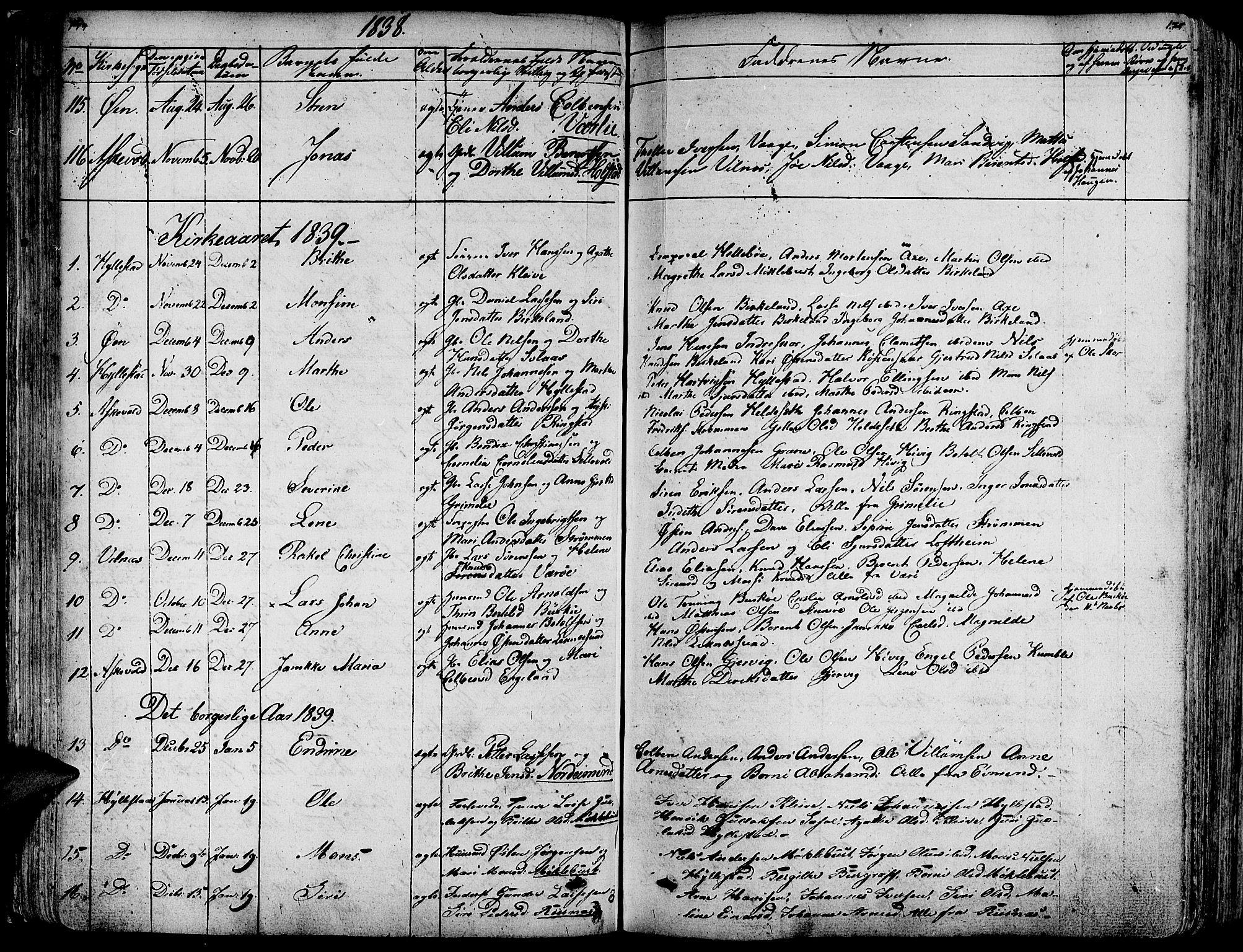 SAB, Askvoll Sokneprestembete, Ministerialbok nr. A 10, 1821-1844, s. 174-175