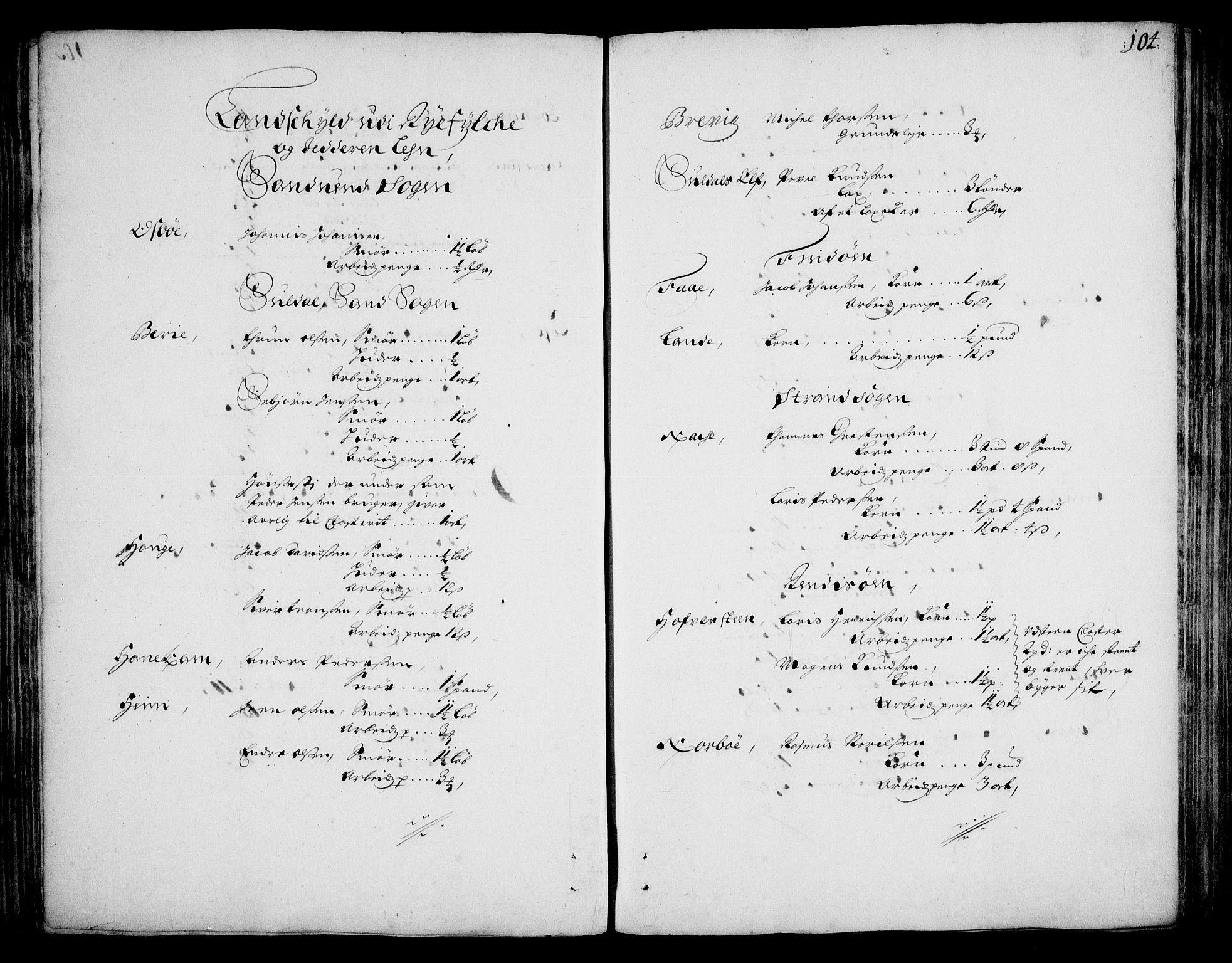 RA, Rentekammeret inntil 1814, Realistisk ordnet avdeling, On/L0002: [Jj 3]: Besiktigelsesforretninger over Halsnøy klosters gods, 1659-1703, s. 103b-104a
