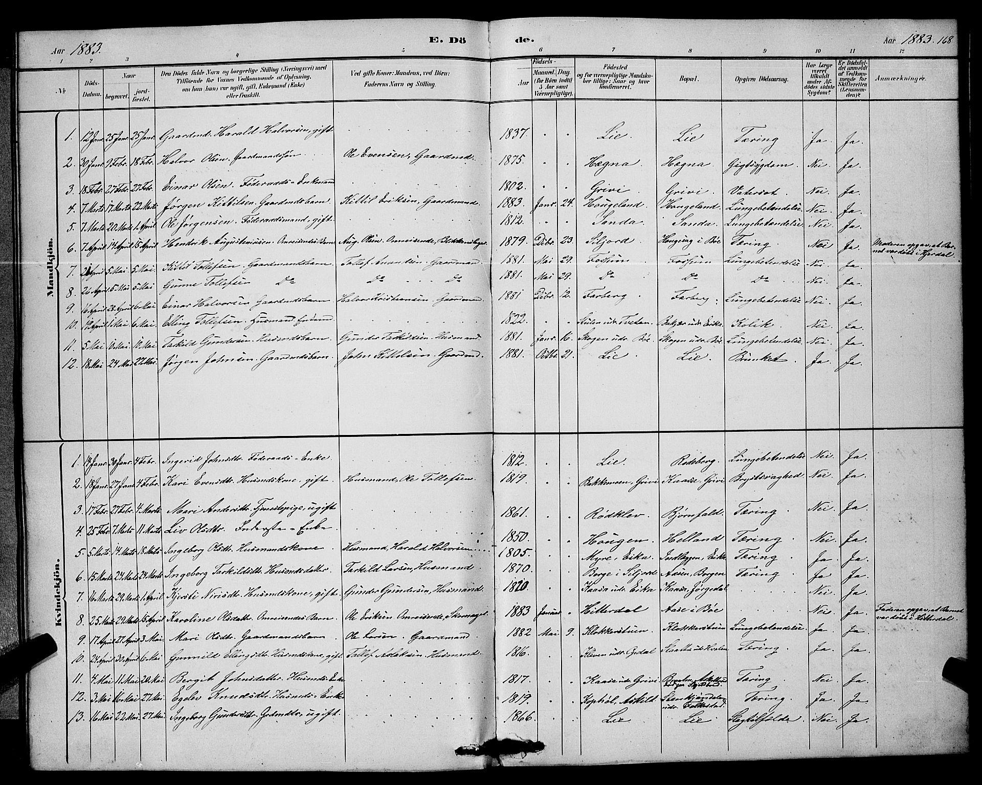 SAKO, Bø kirkebøker, G/Ga/L0005: Klokkerbok nr. 5, 1883-1897, s. 168