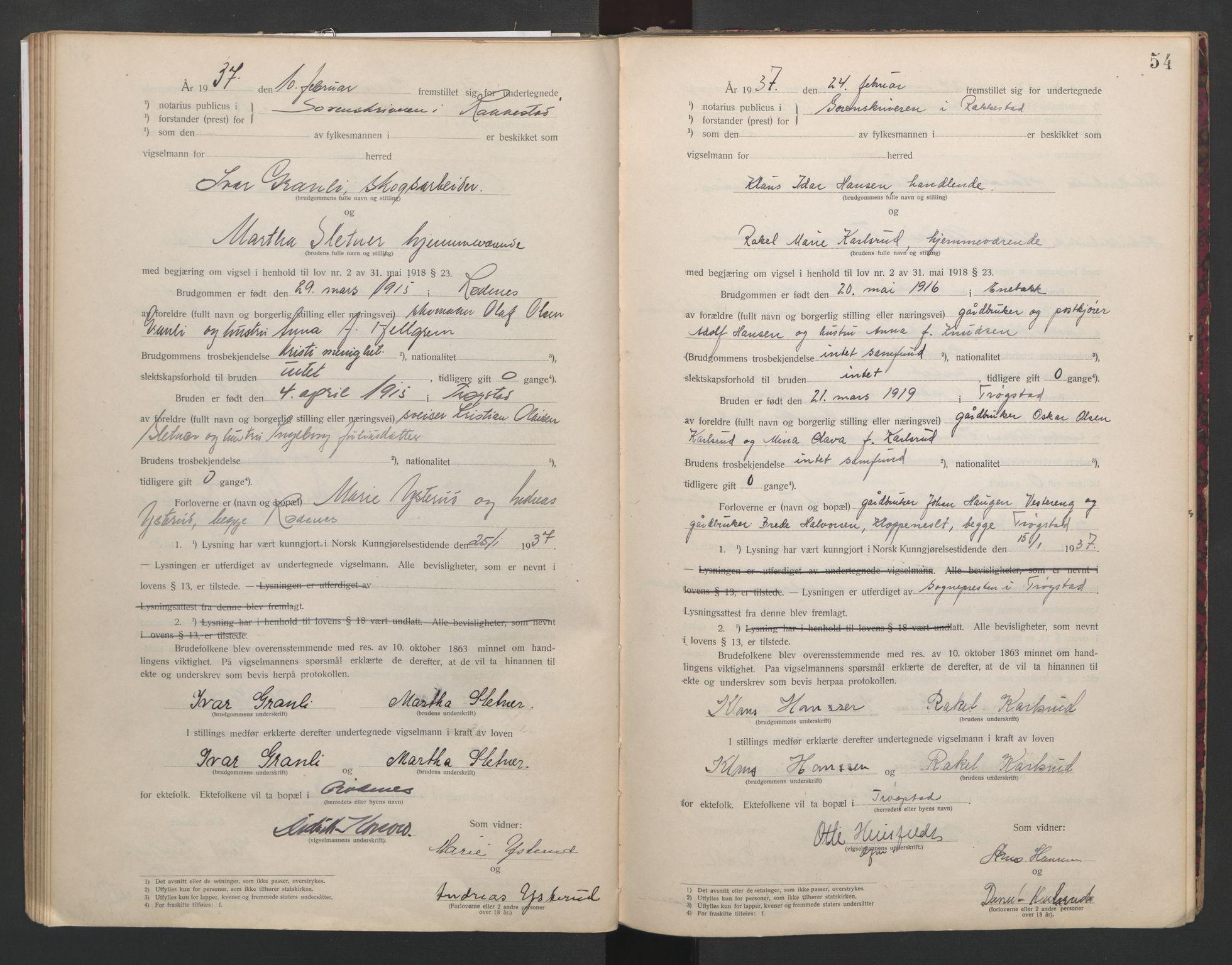 SAO, Rakkestad sorenskriveri, L/Lc/Lca/L0001: Vigselbøker, 1920-1942, s. 54
