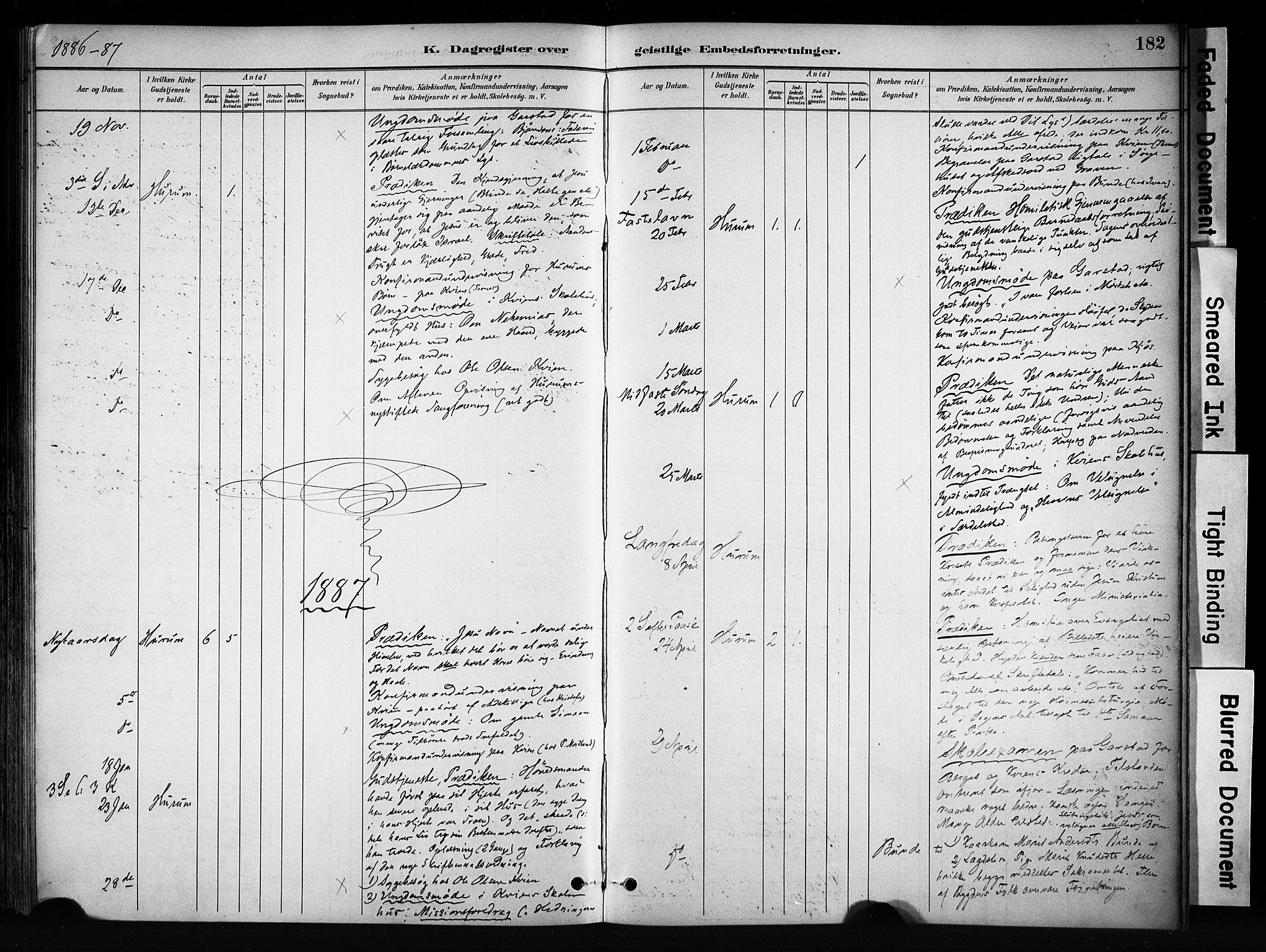 SAH, Vang prestekontor, Valdres, Ministerialbok nr. 9, 1882-1914, s. 182