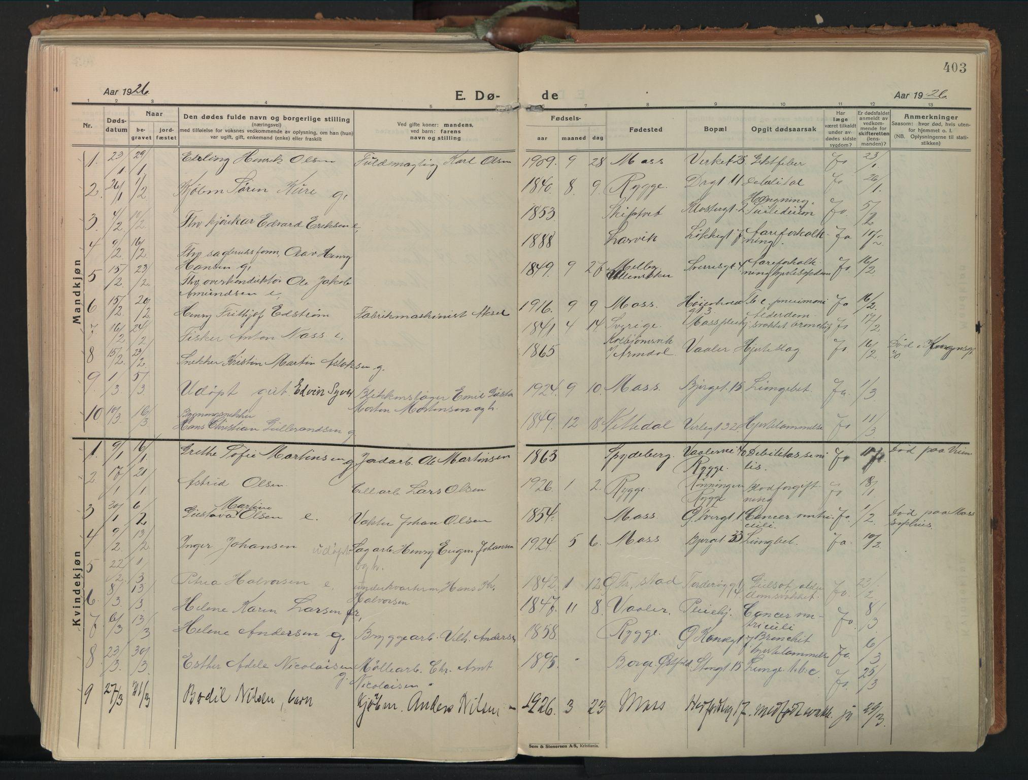 SAO, Moss prestekontor Kirkebøker, F/Fb/Fab/L0006: Ministerialbok nr. II 6, 1924-1932, s. 403
