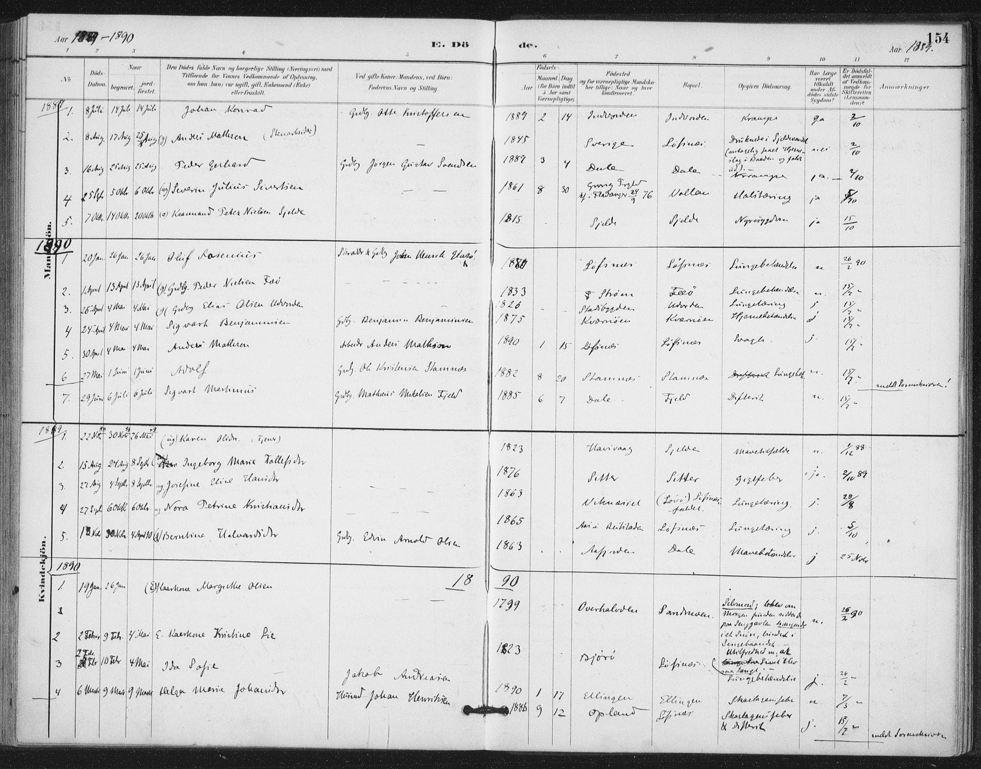 SAT, Ministerialprotokoller, klokkerbøker og fødselsregistre - Nord-Trøndelag, 772/L0603: Ministerialbok nr. 772A01, 1885-1912, s. 154