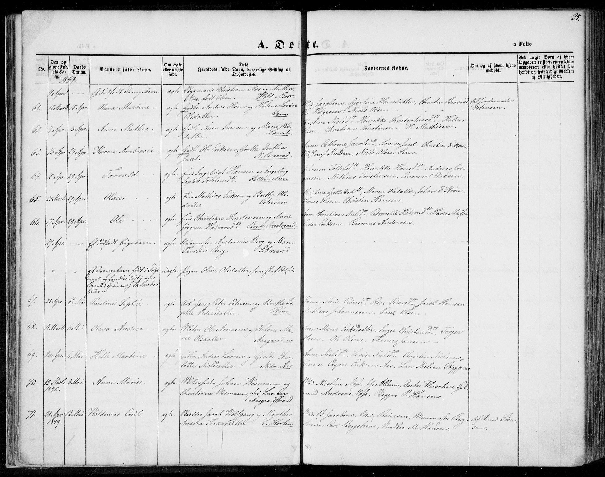 SAKO, Borre kirkebøker, F/Fa/L0005: Ministerialbok nr. I 5, 1845-1851, s. 35