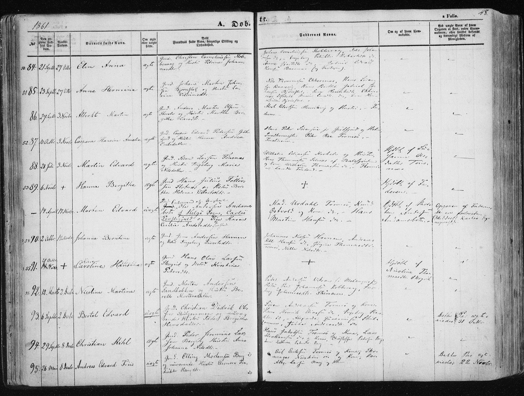 SATØ, Tromsøysund sokneprestkontor, G/Ga/L0001kirke: Ministerialbok nr. 1, 1856-1867, s. 48