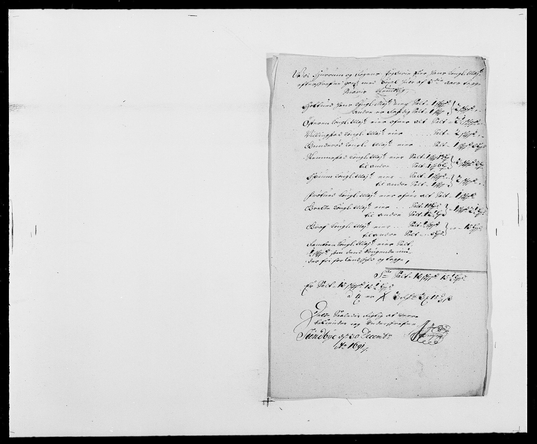RA, Rentekammeret inntil 1814, Reviderte regnskaper, Fogderegnskap, R29/L1693: Fogderegnskap Hurum og Røyken, 1688-1693, s. 193