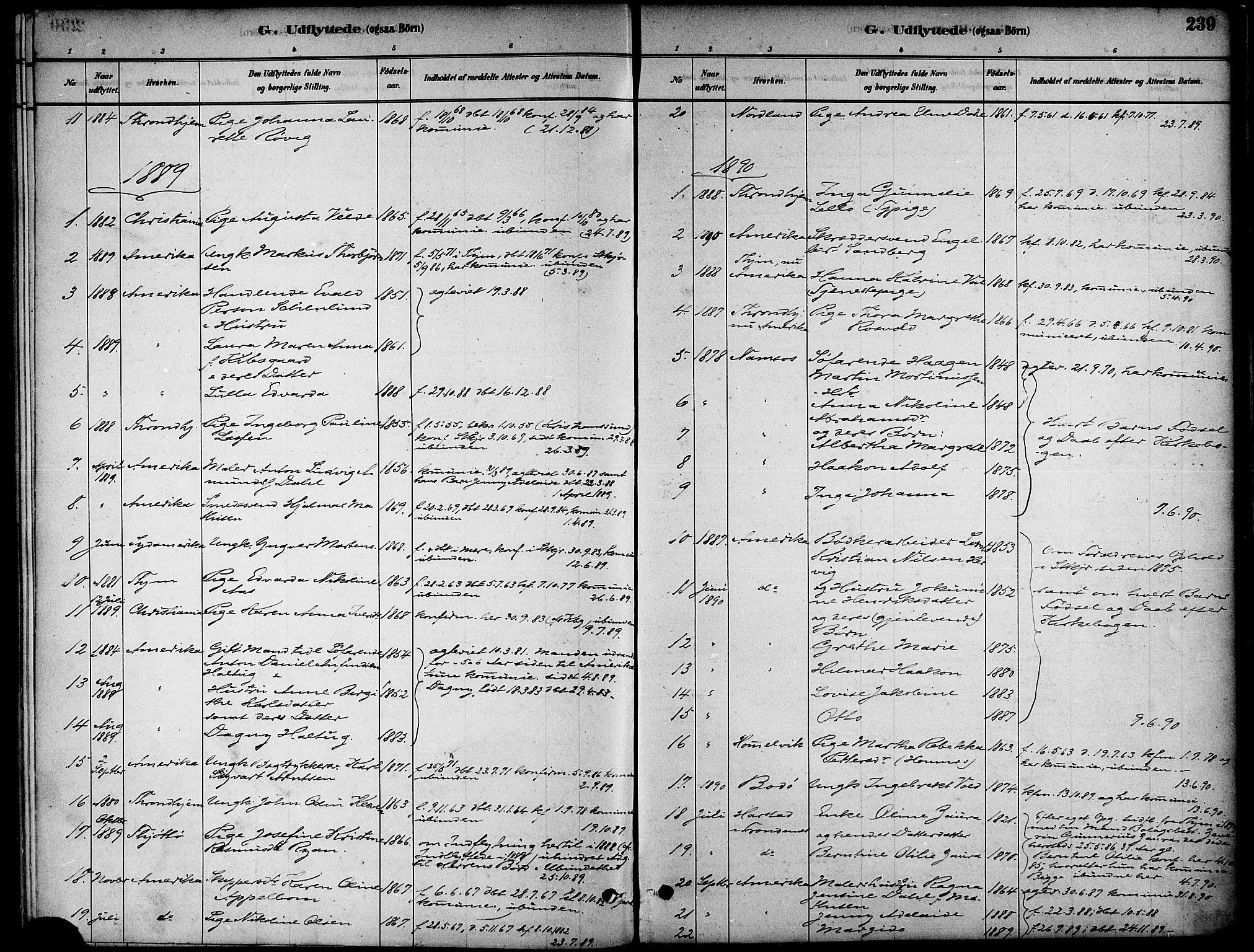 SAT, Ministerialprotokoller, klokkerbøker og fødselsregistre - Nord-Trøndelag, 739/L0371: Ministerialbok nr. 739A03, 1881-1895, s. 239