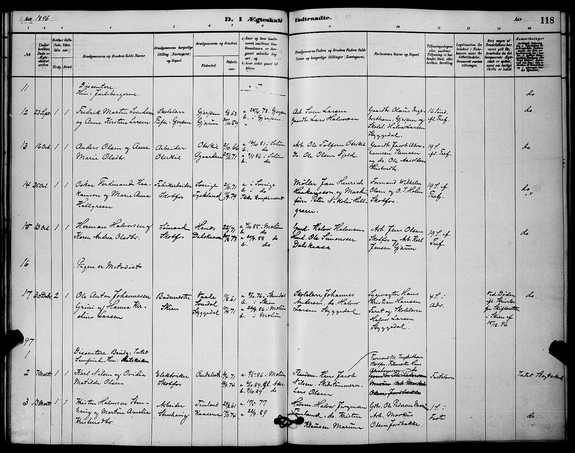 SAKO, Solum kirkebøker, G/Gb/L0003: Klokkerbok nr. II 3, 1880-1898, s. 118