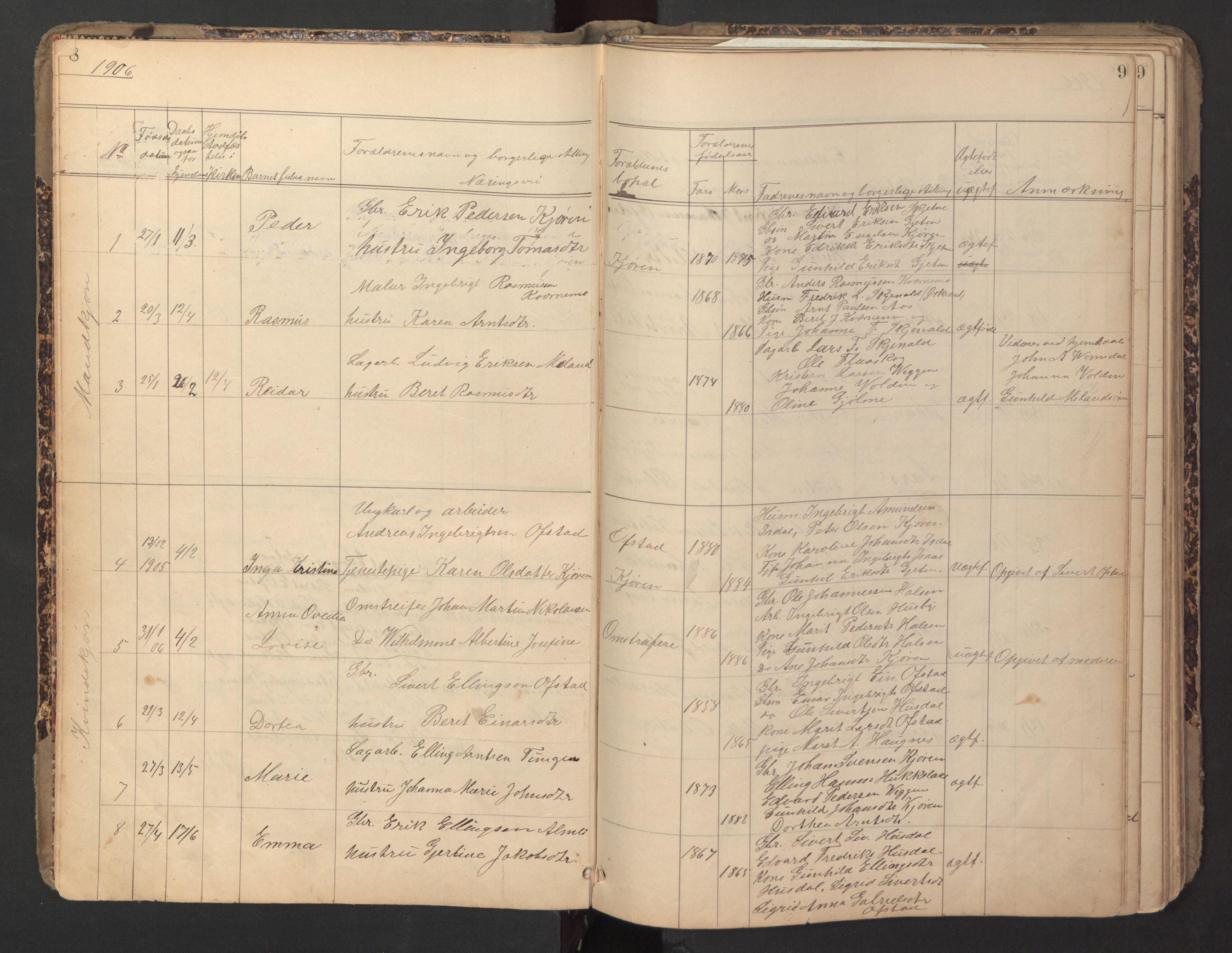 SAT, Ministerialprotokoller, klokkerbøker og fødselsregistre - Sør-Trøndelag, 670/L0837: Klokkerbok nr. 670C01, 1905-1946, s. 8-9