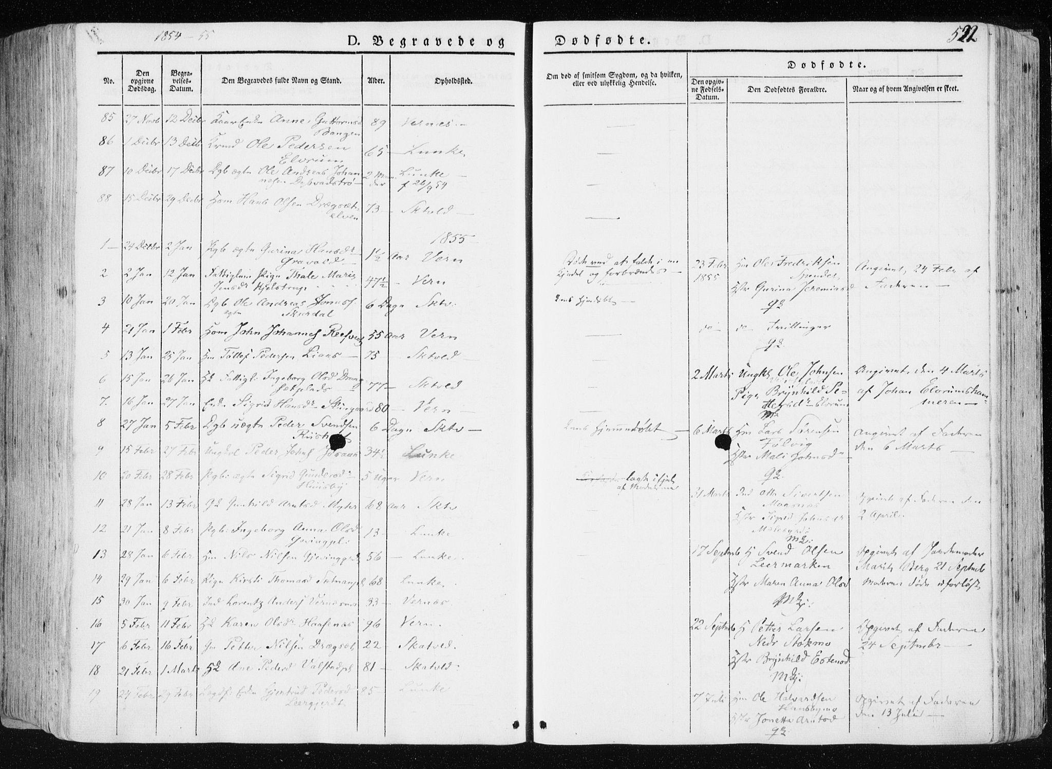 SAT, Ministerialprotokoller, klokkerbøker og fødselsregistre - Nord-Trøndelag, 709/L0074: Ministerialbok nr. 709A14, 1845-1858, s. 522