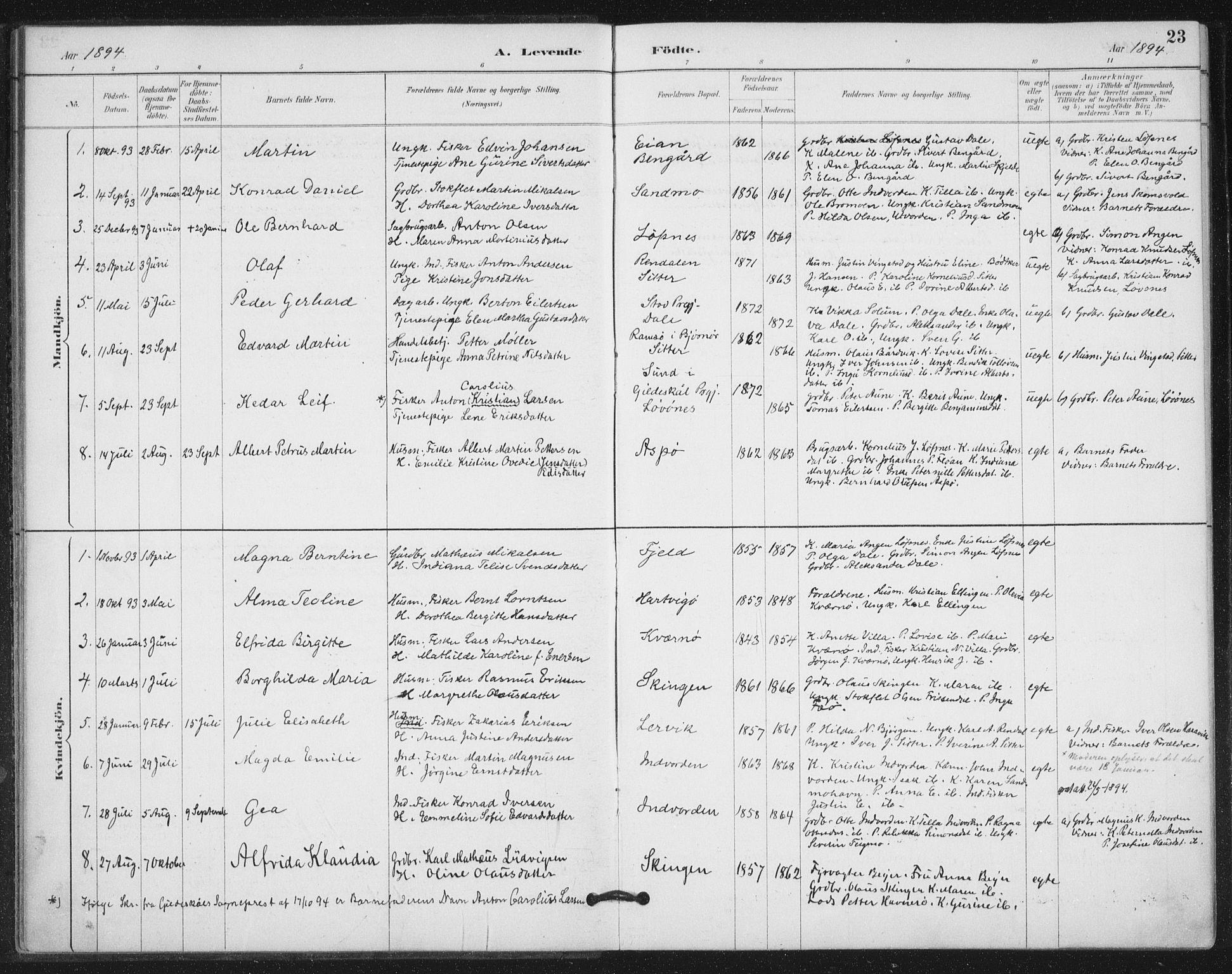 SAT, Ministerialprotokoller, klokkerbøker og fødselsregistre - Nord-Trøndelag, 772/L0603: Ministerialbok nr. 772A01, 1885-1912, s. 23
