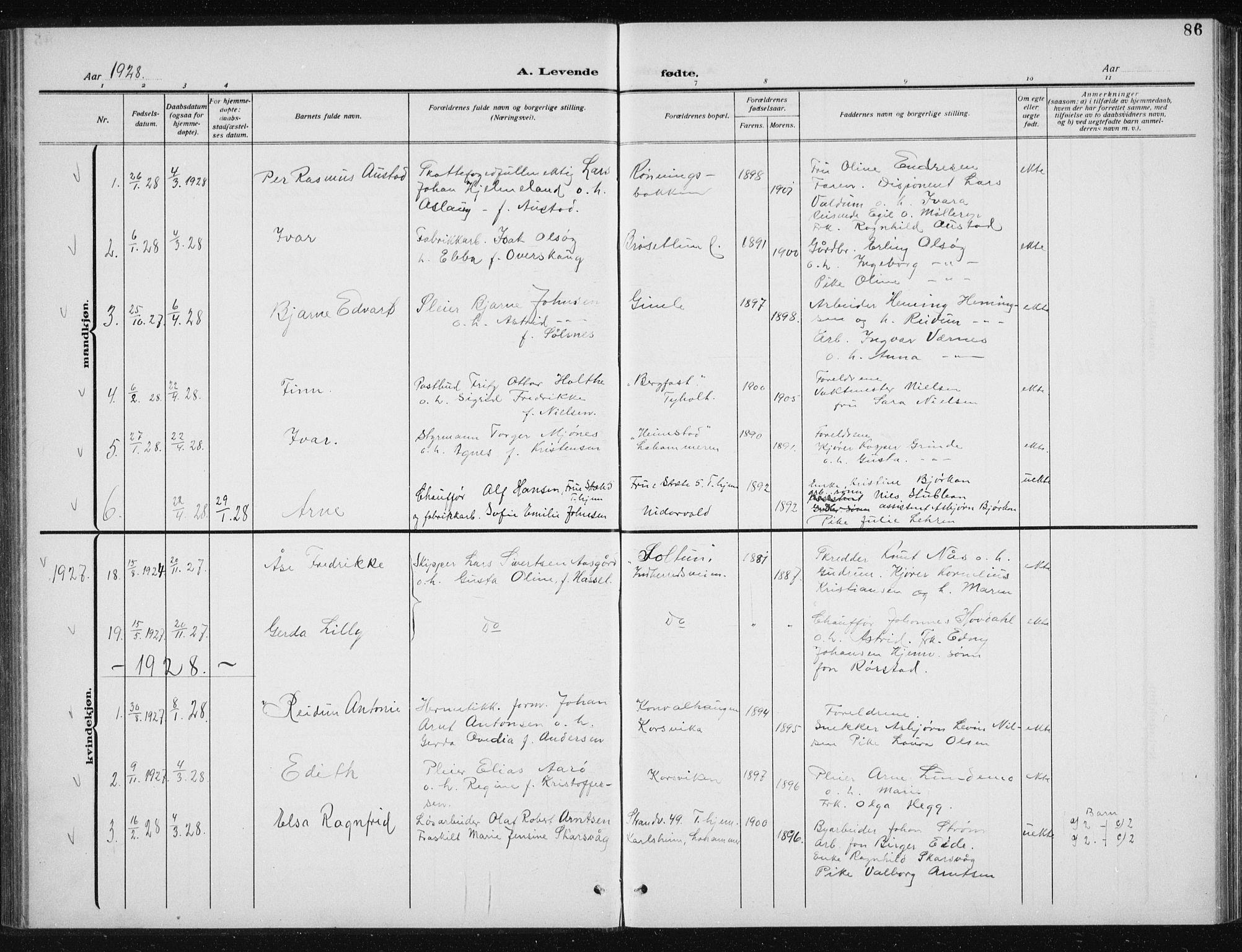 SAT, Ministerialprotokoller, klokkerbøker og fødselsregistre - Sør-Trøndelag, 606/L0314: Klokkerbok nr. 606C10, 1911-1937, s. 86