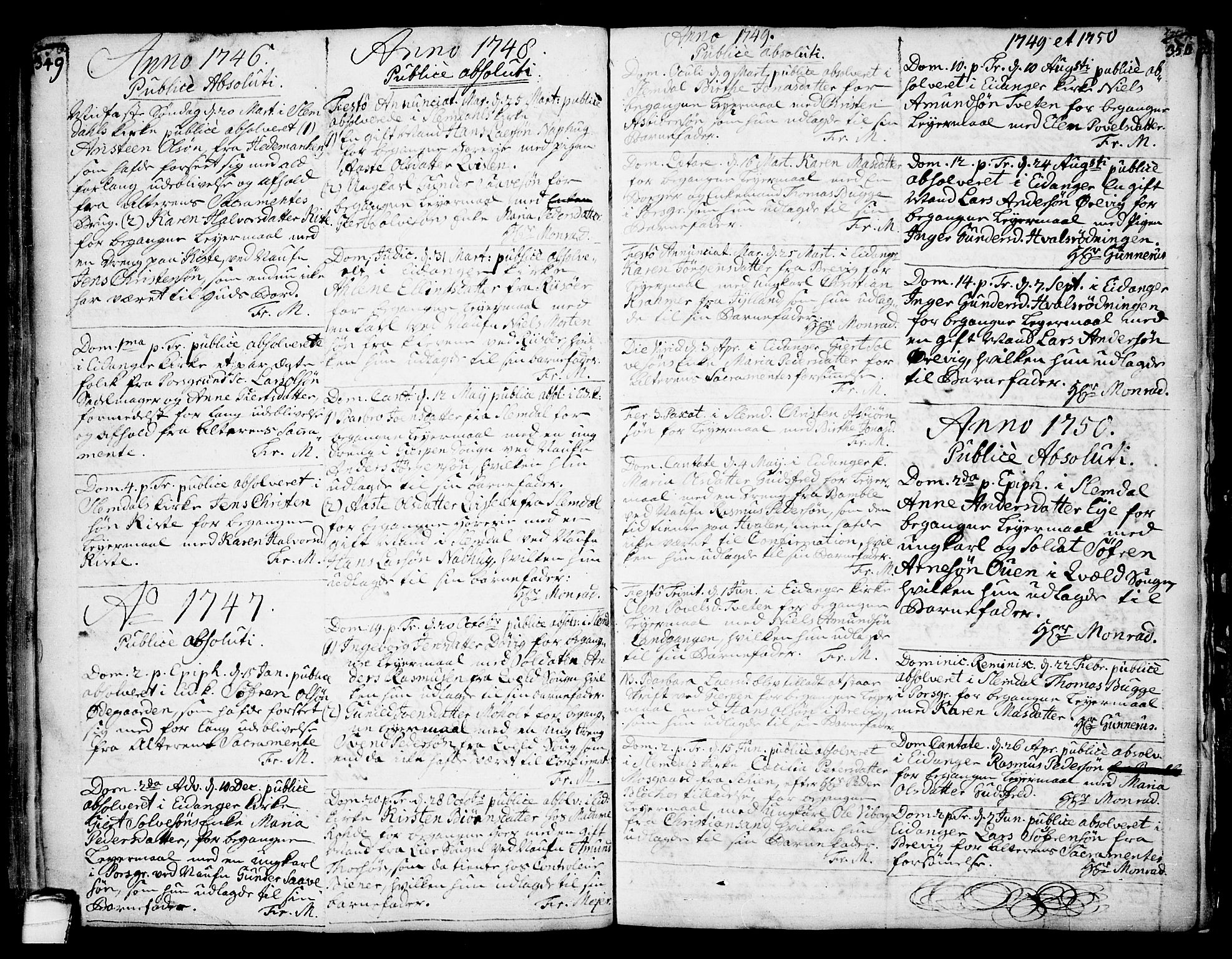 SAKO, Eidanger kirkebøker, F/Fa/L0004: Ministerialbok nr. 4, 1733-1759, s. 349-350