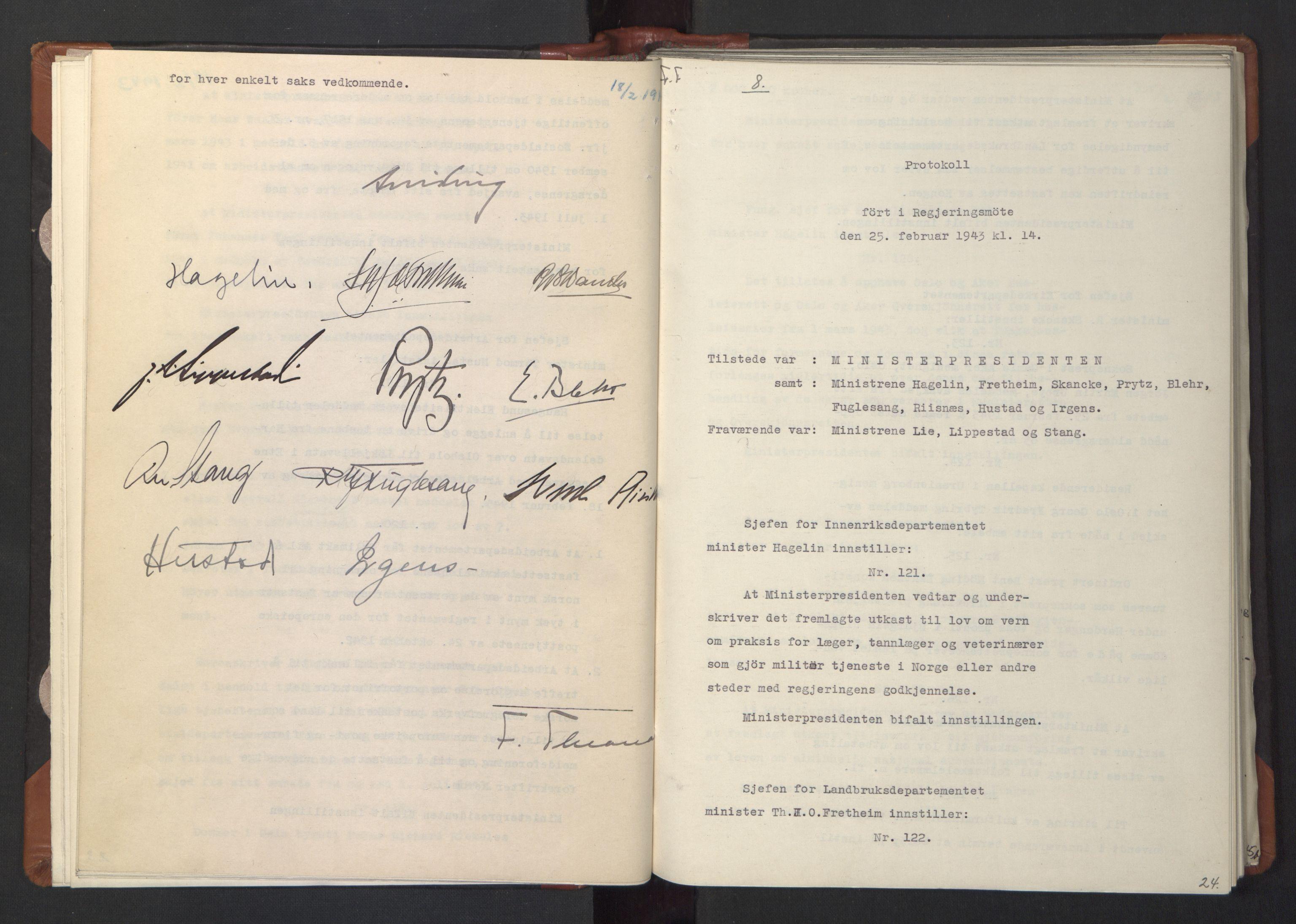 RA, NS-administrasjonen 1940-1945 (Statsrådsekretariatet, de kommisariske statsråder mm), D/Da/L0003: Vedtak (Beslutninger) nr. 1-746 og tillegg nr. 1-47 (RA. j.nr. 1394/1944, tilgangsnr. 8/1944, 1943, s. 23b-24a
