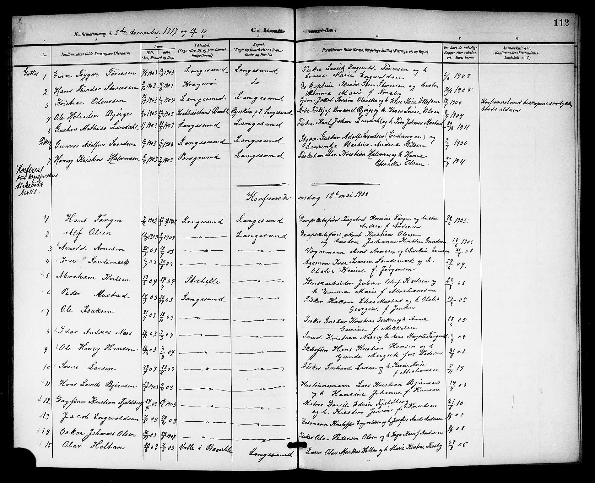 SAKO, Langesund kirkebøker, G/Ga/L0006: Klokkerbok nr. 6, 1899-1918, s. 112
