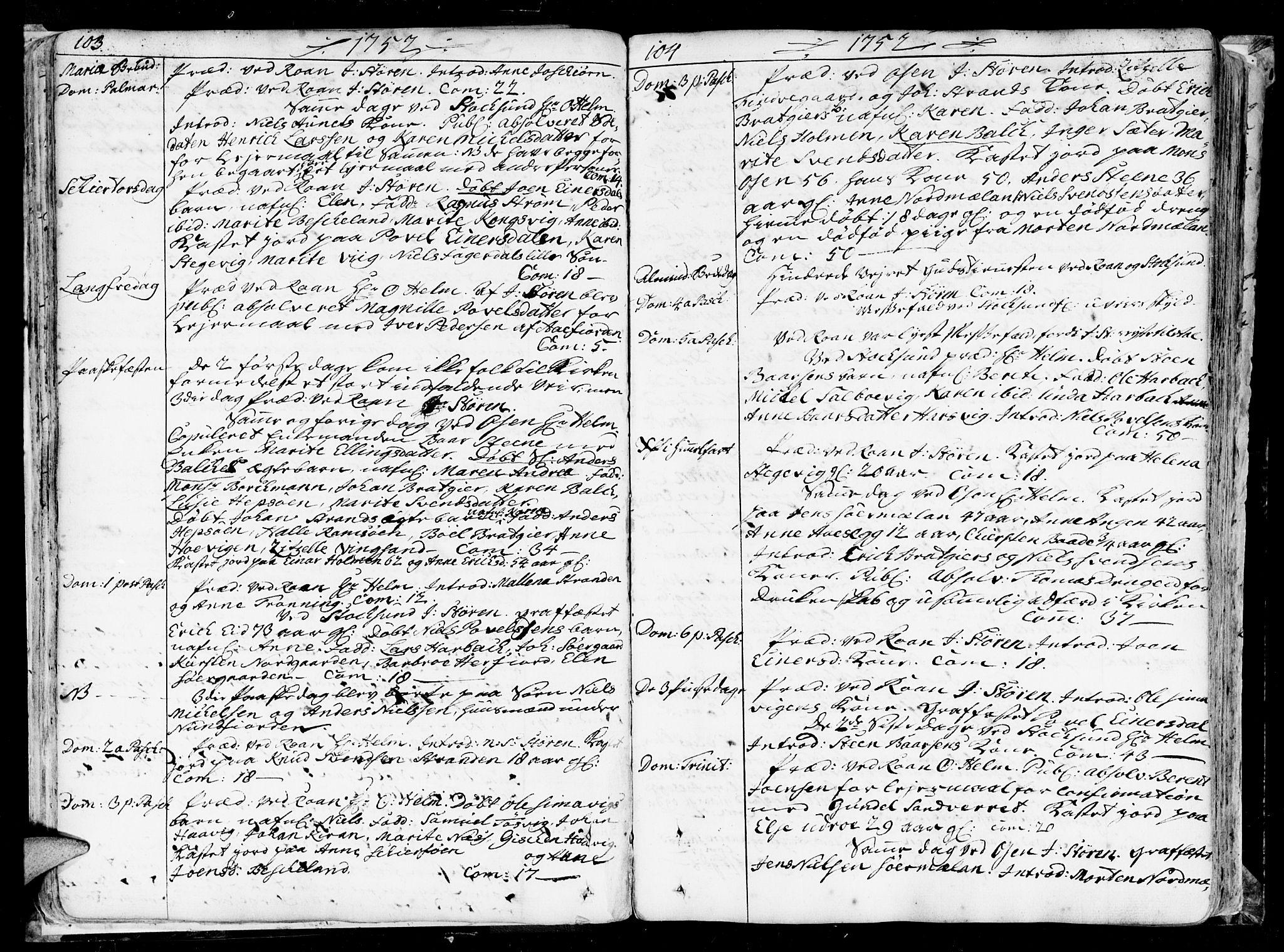SAT, Ministerialprotokoller, klokkerbøker og fødselsregistre - Sør-Trøndelag, 657/L0700: Ministerialbok nr. 657A01, 1732-1801, s. 103-104