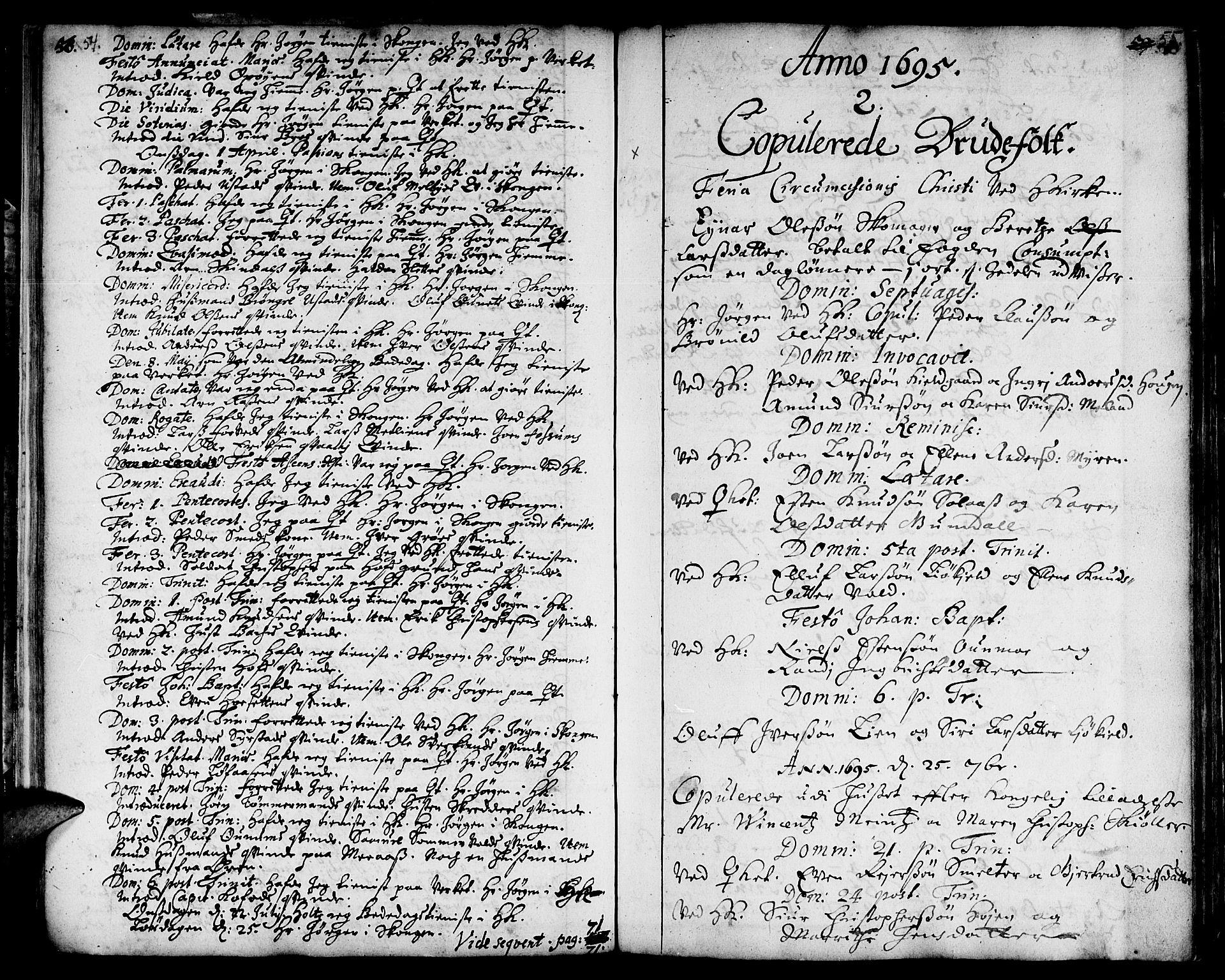 SAT, Ministerialprotokoller, klokkerbøker og fødselsregistre - Sør-Trøndelag, 668/L0801: Ministerialbok nr. 668A01, 1695-1716, s. 54-55