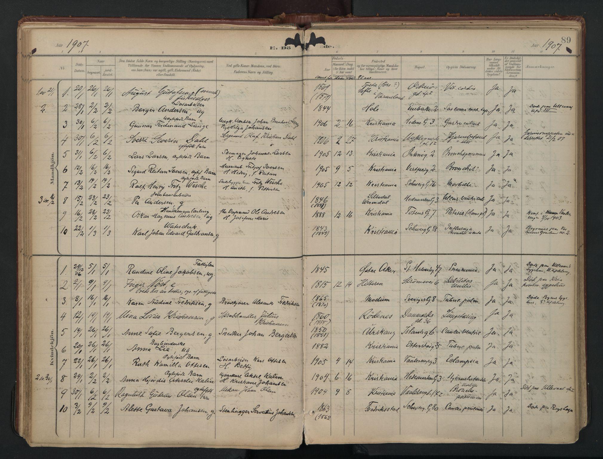 SAO, Vålerengen prestekontor Kirkebøker, F/Fa/L0003: Ministerialbok nr. 3, 1899-1930, s. 89