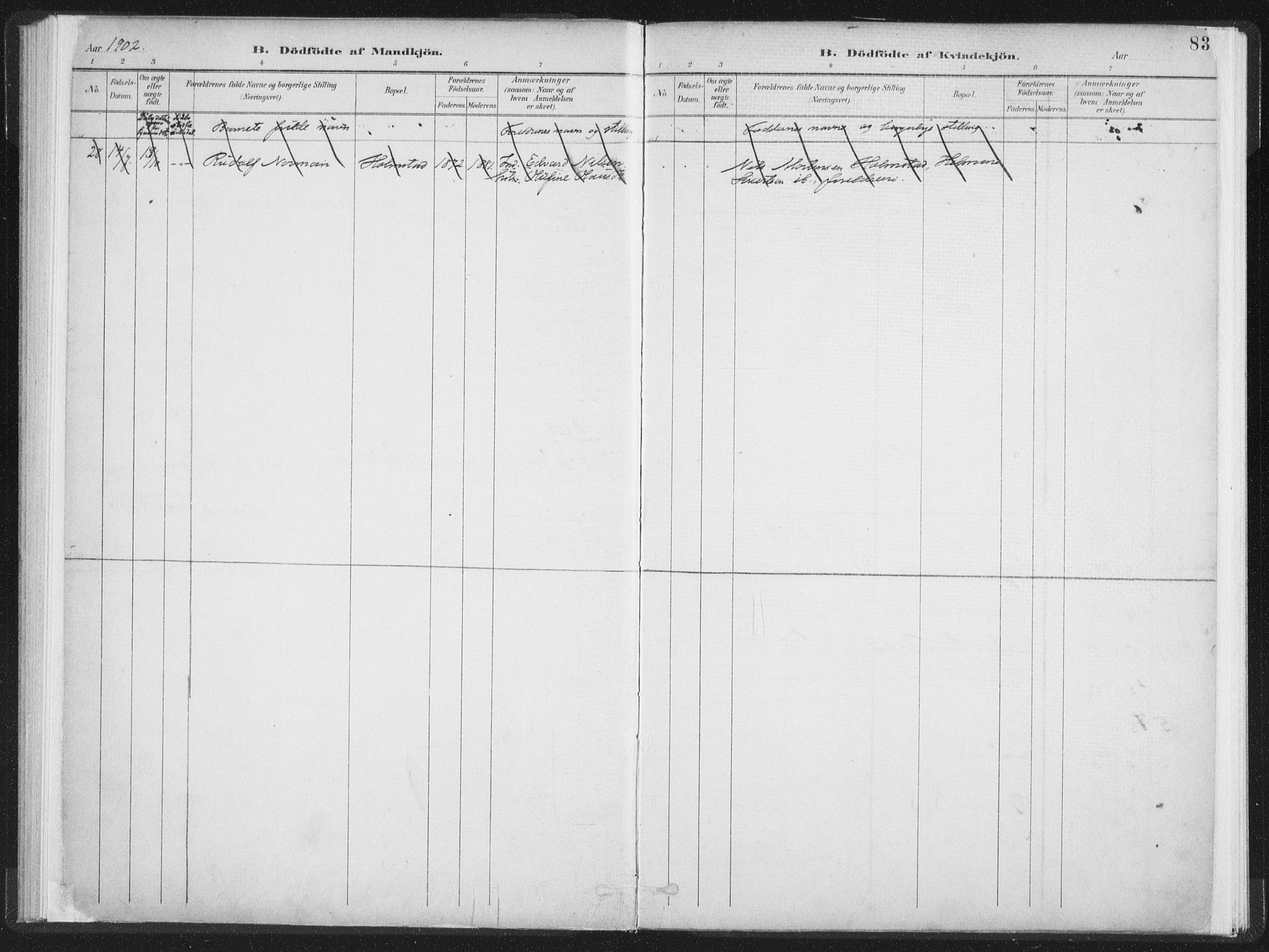 SAT, Ministerialprotokoller, klokkerbøker og fødselsregistre - Nordland, 890/L1286: Ministerialbok nr. 890A01, 1882-1902, s. 83