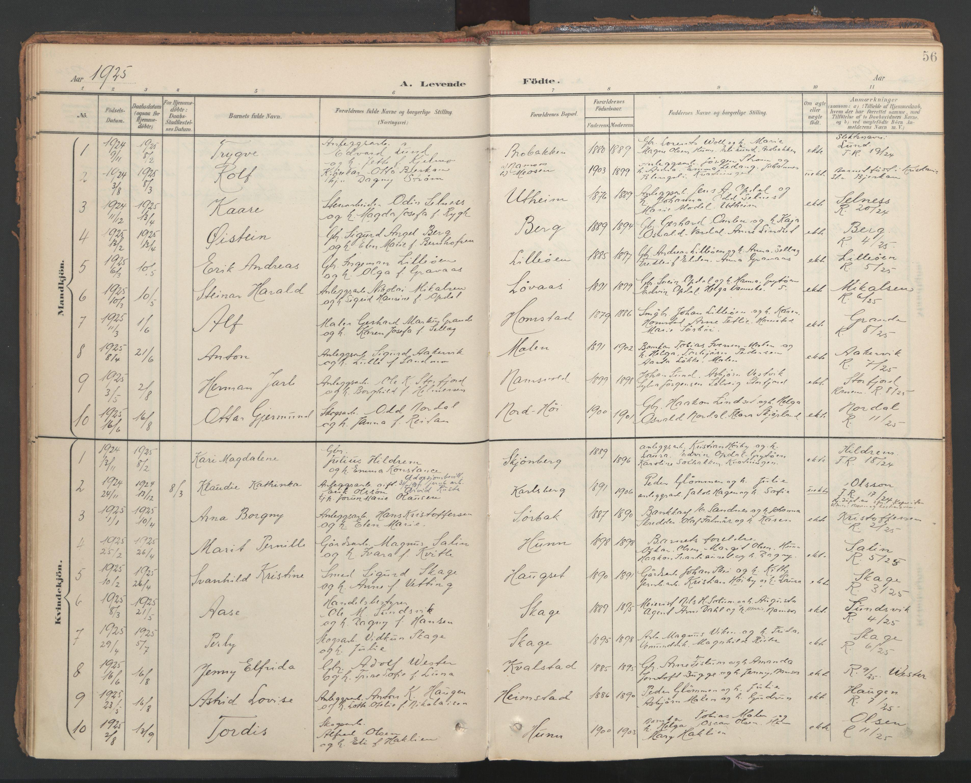 SAT, Ministerialprotokoller, klokkerbøker og fødselsregistre - Nord-Trøndelag, 766/L0564: Ministerialbok nr. 767A02, 1900-1932, s. 56