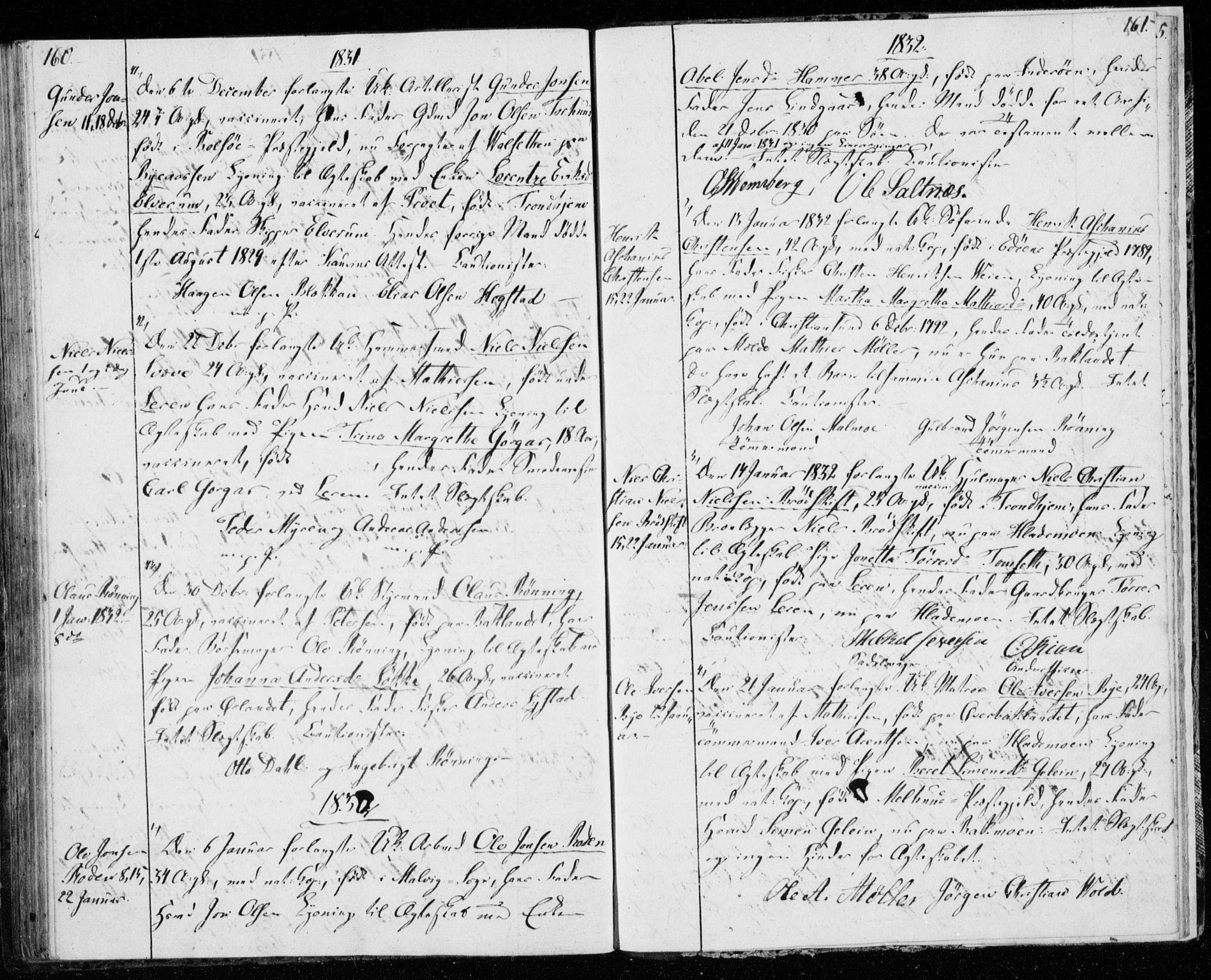 SAT, Ministerialprotokoller, klokkerbøker og fødselsregistre - Sør-Trøndelag, 606/L0295: Lysningsprotokoll nr. 606A10, 1815-1833, s. 160-161